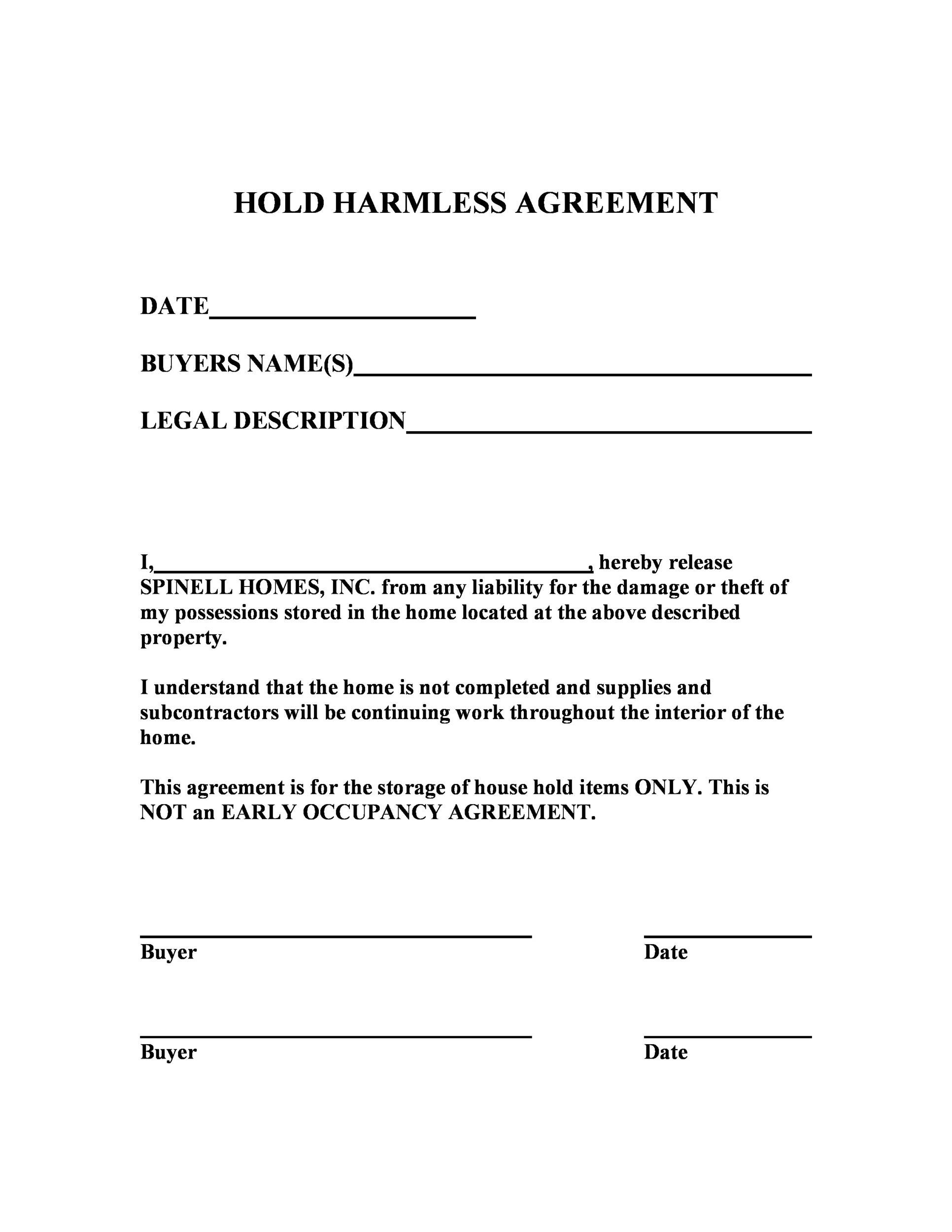 Free Hold Harmless Agreement Template 22