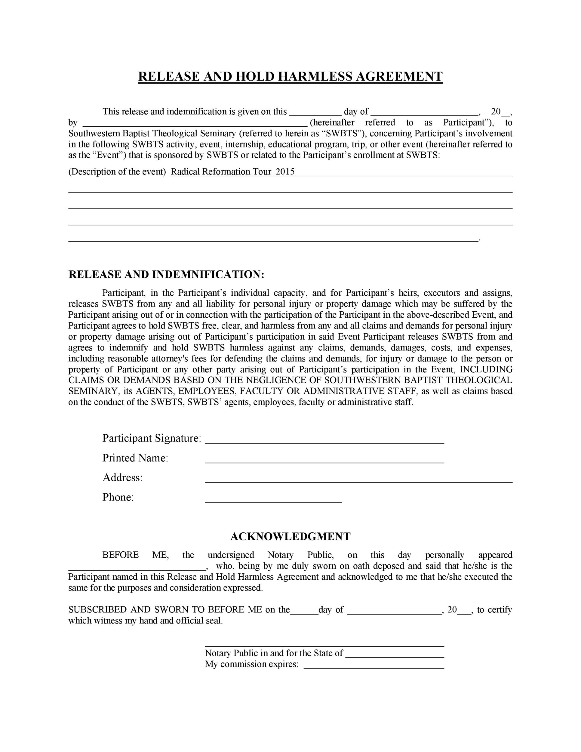 Free Hold Harmless Agreement Template 29