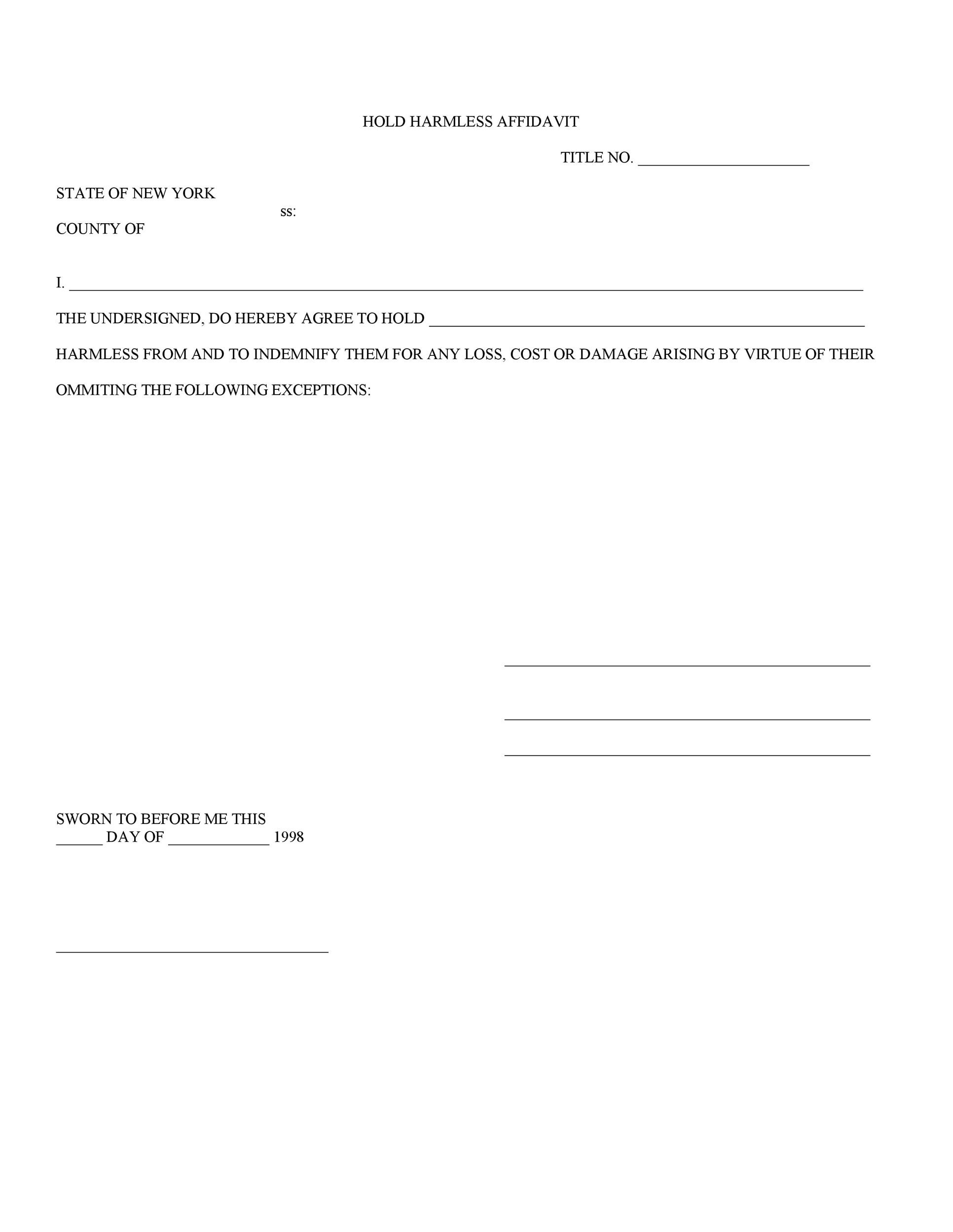 Free Hold Harmless Agreement Template 30