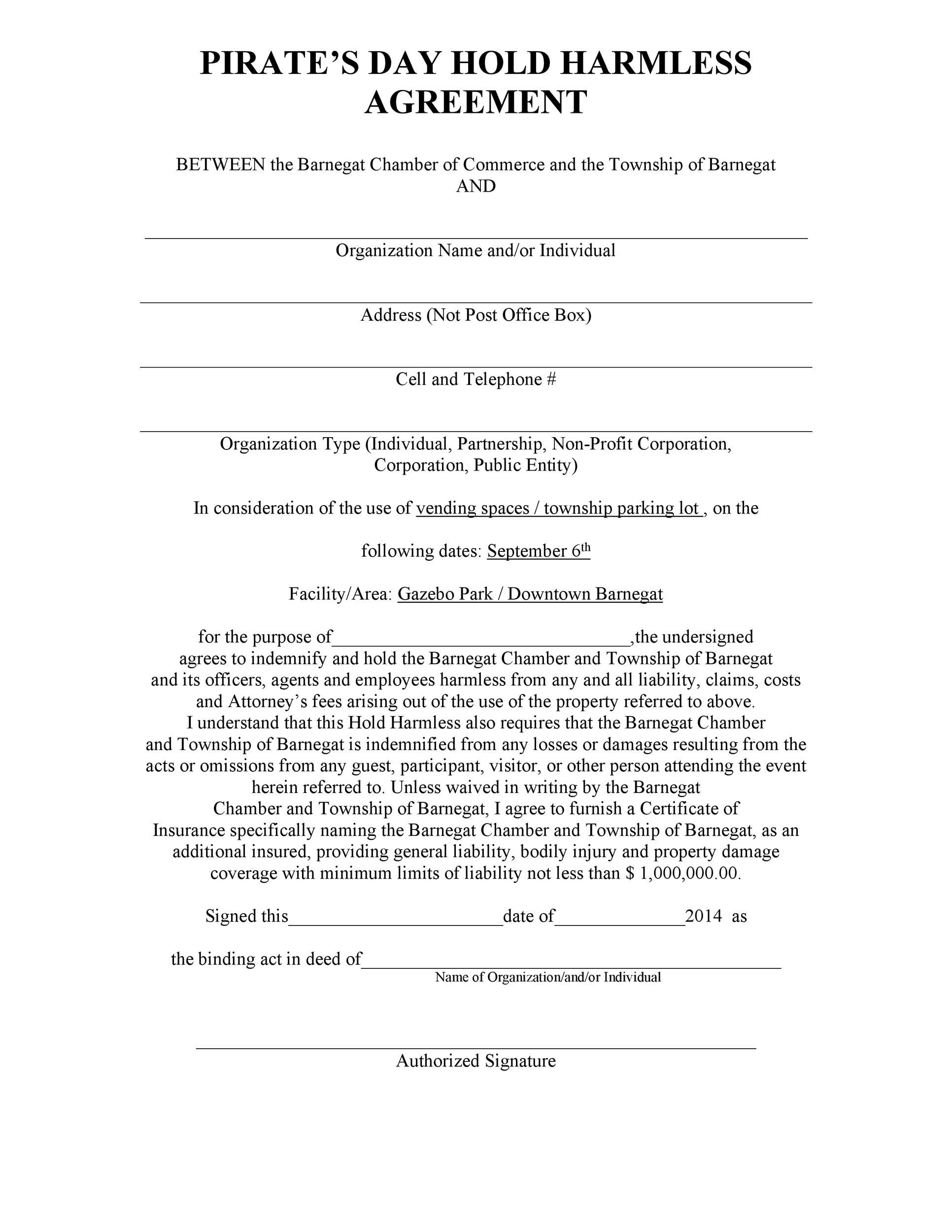 40 hold harmless agreement templates free template lab With hold harmless waiver template