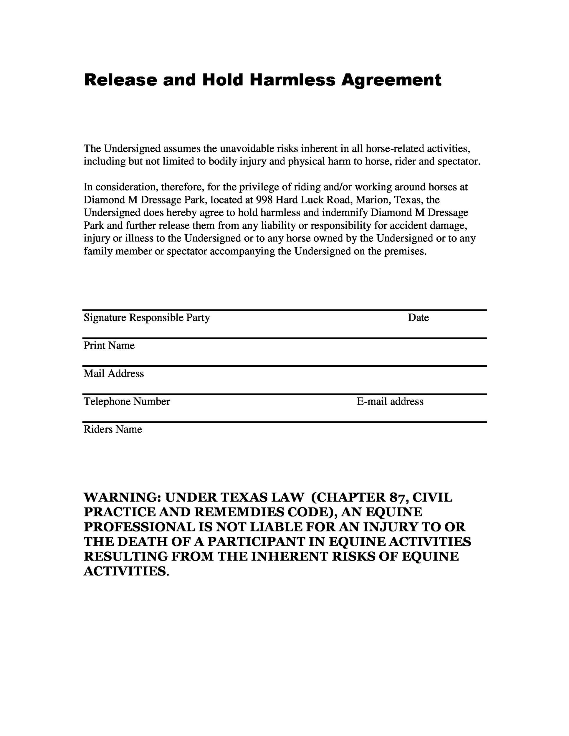 Free Hold Harmless Agreement Template 34
