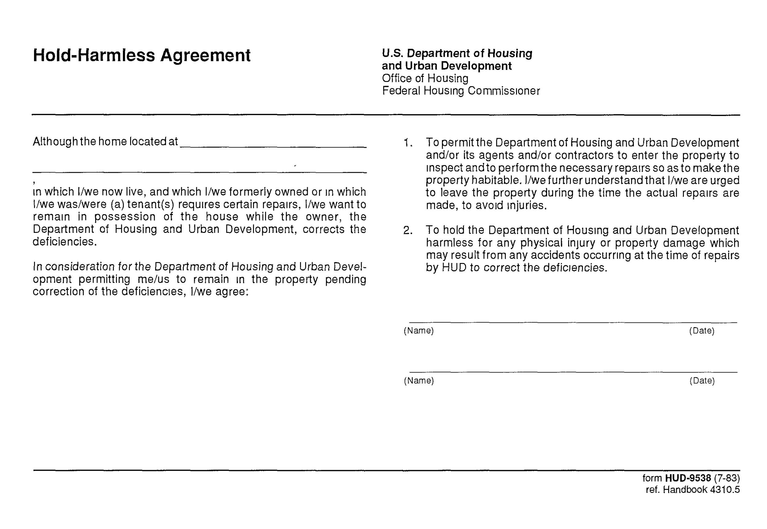 Free Hold Harmless Agreement Template 35