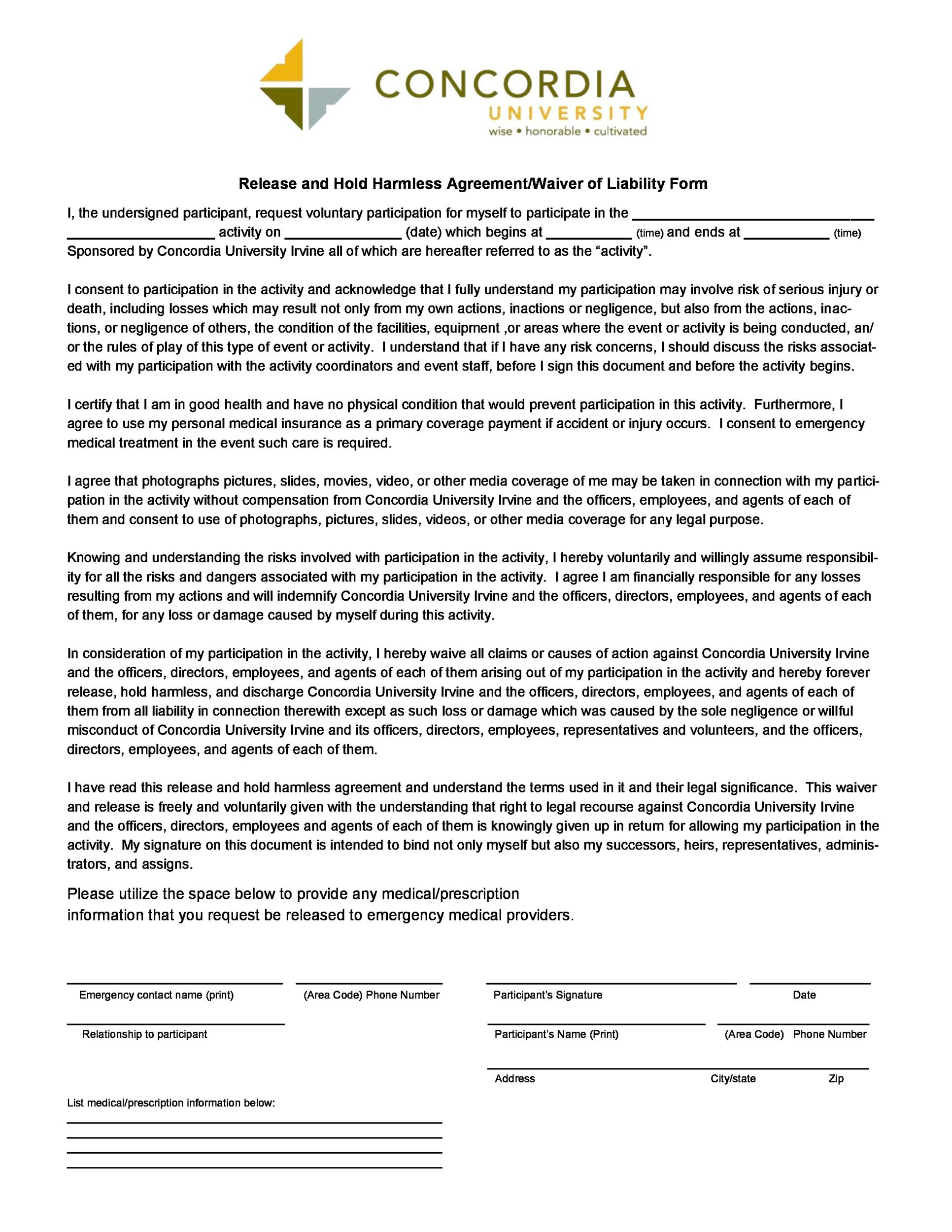 Free Hold Harmless Agreement Template 36