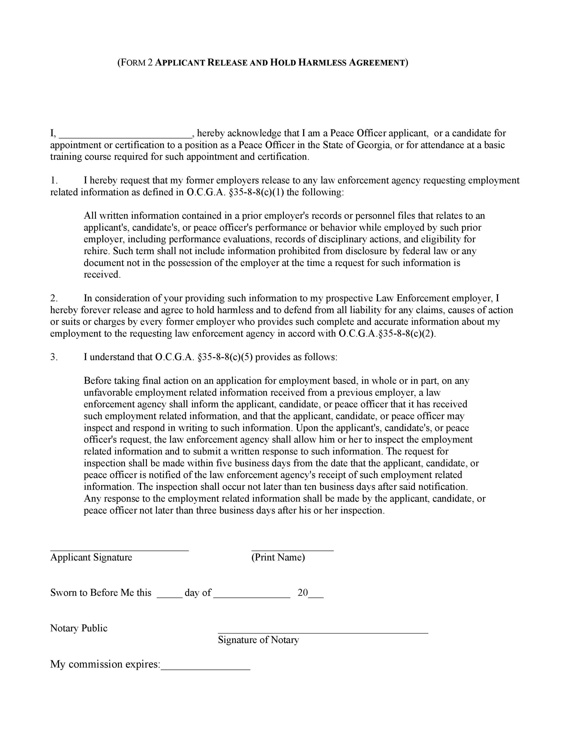 Free Hold Harmless Agreement Template 37