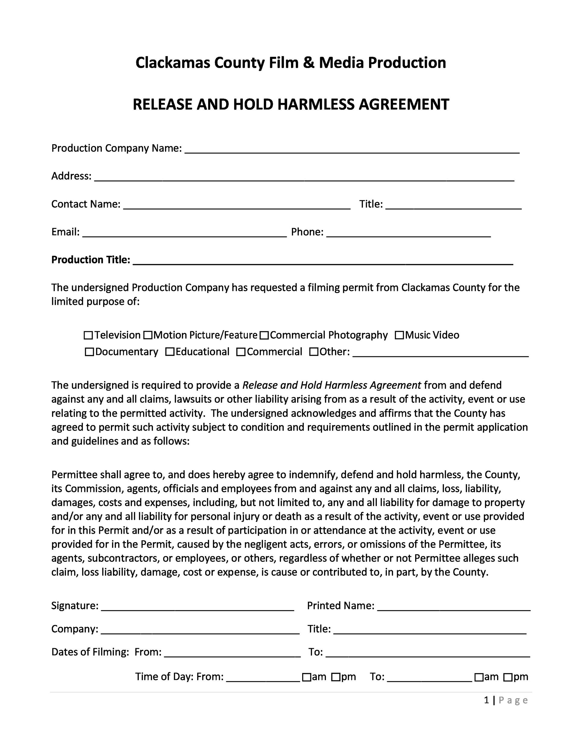 Free Hold Harmless Agreement Template 39