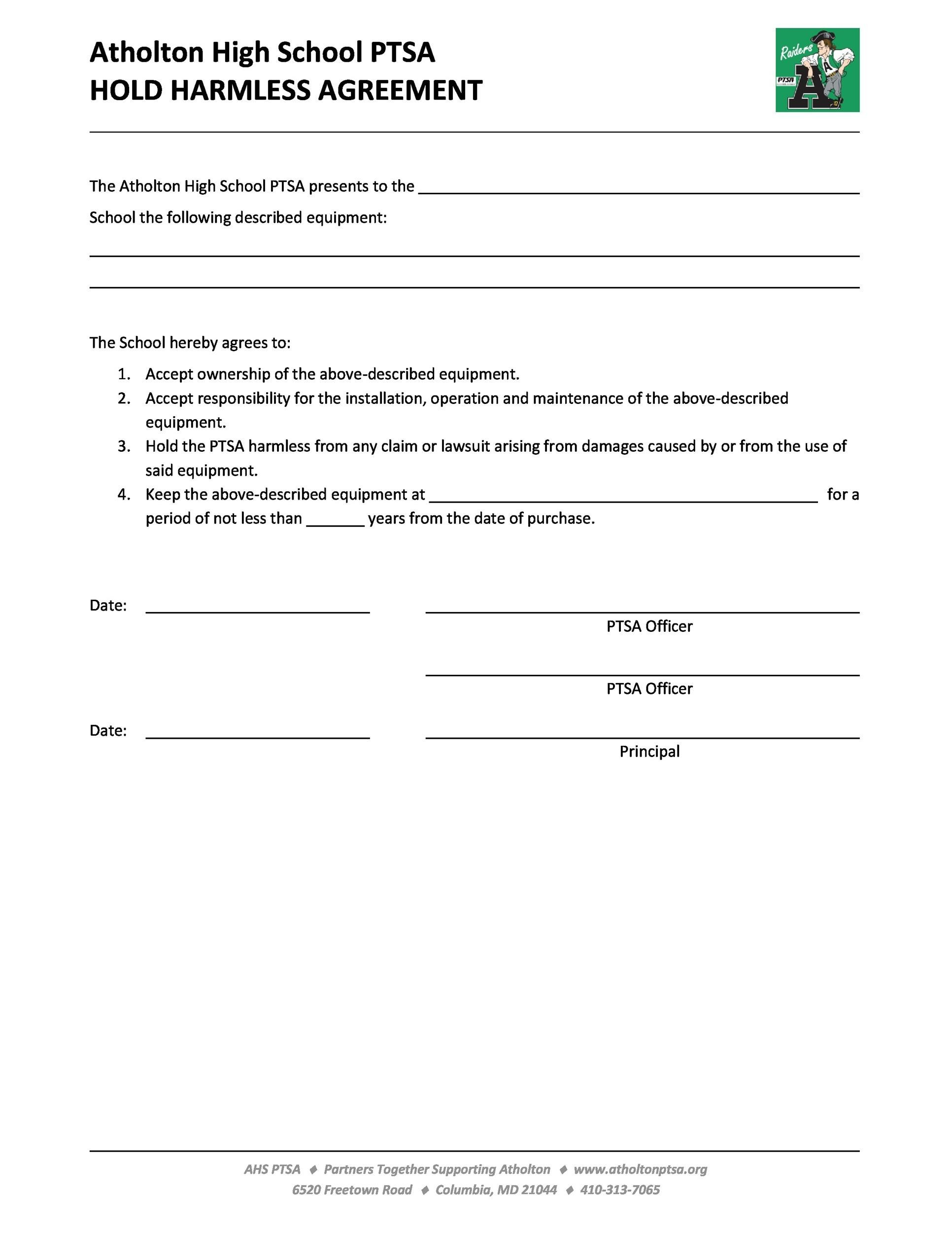 Free Hold Harmless Agreement Template 40