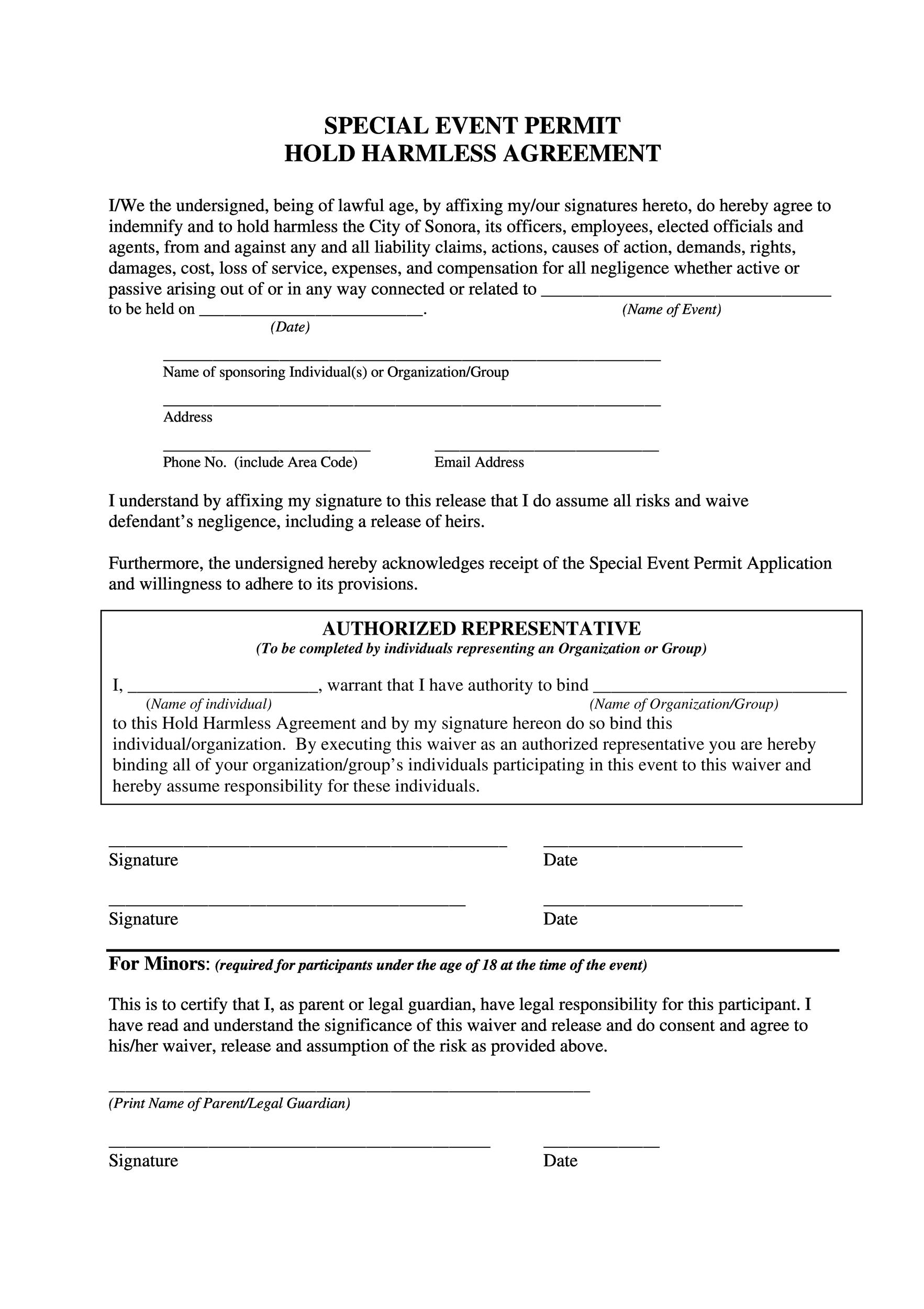 Free Hold Harmless Agreement Template 41