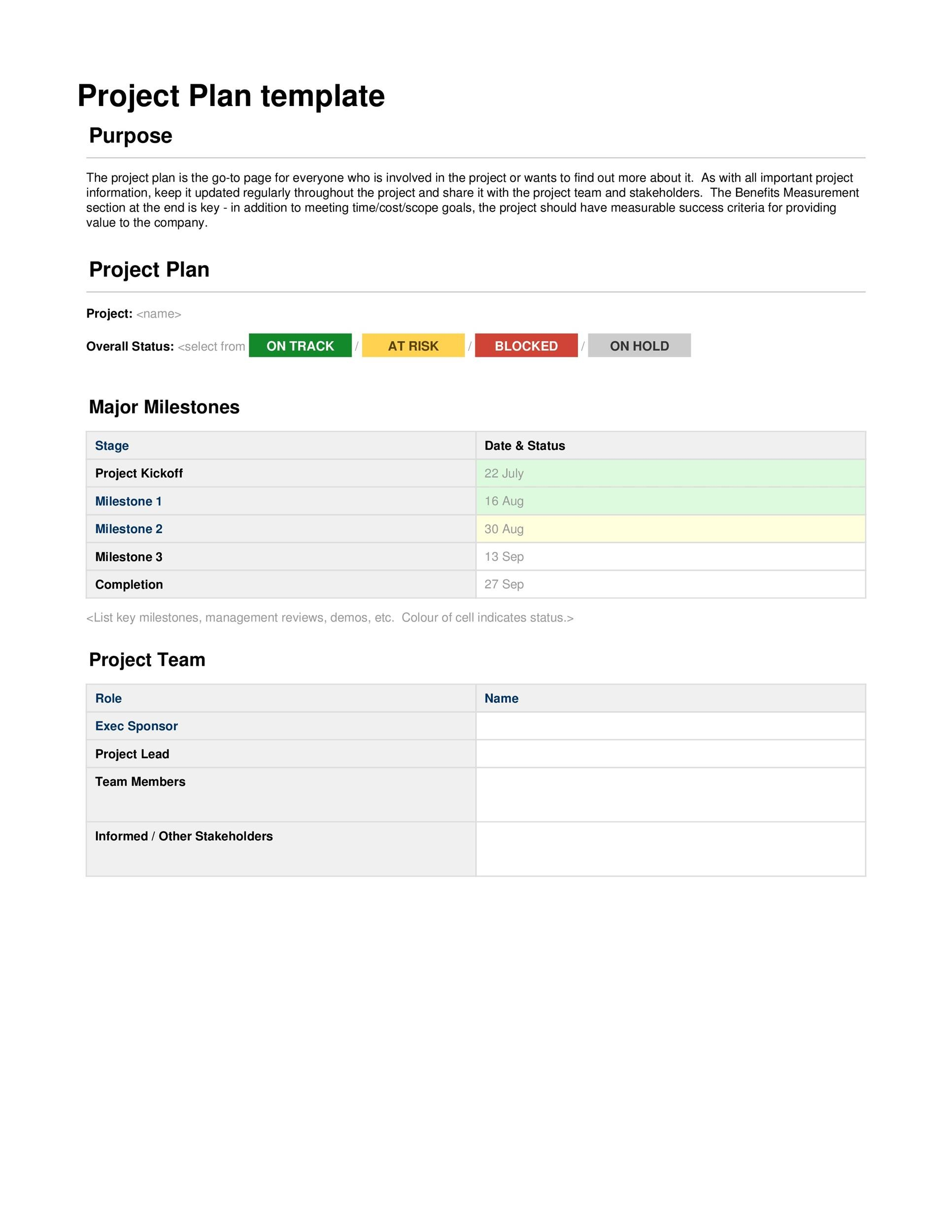 Free project planning template 01