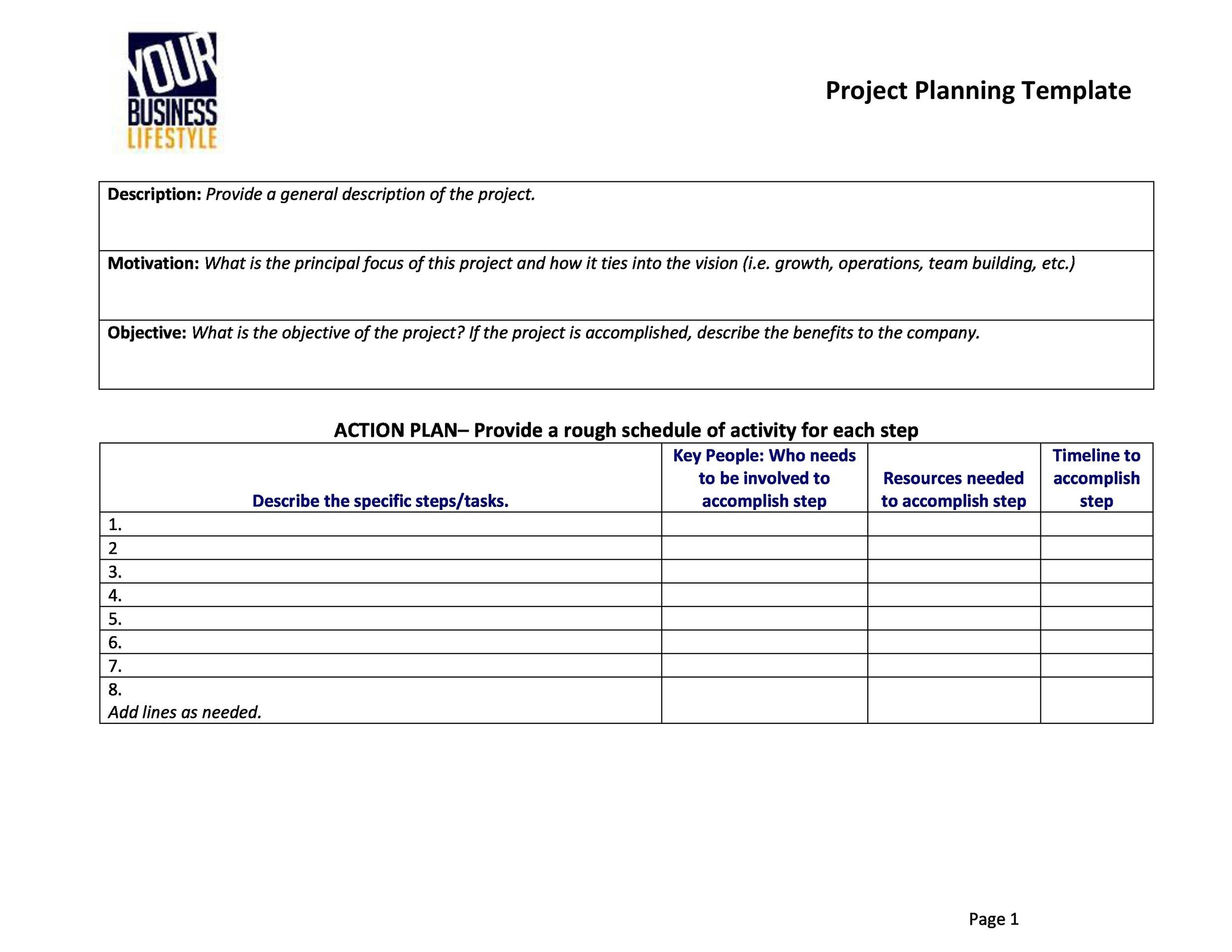 word project plan template
