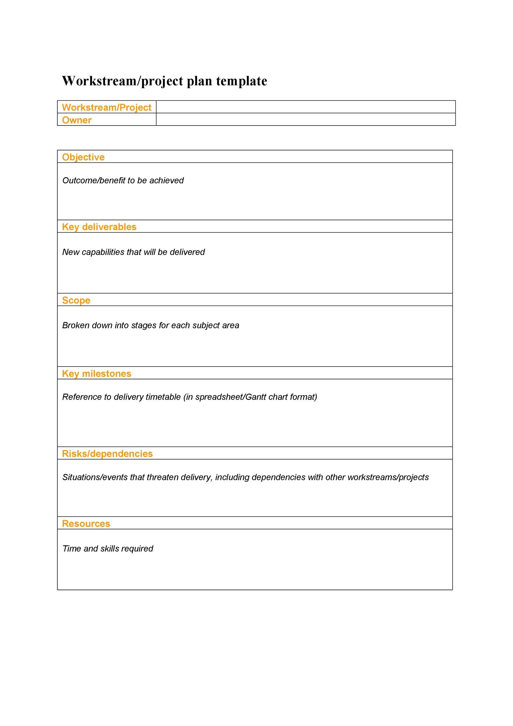 Printable Project Planning Template 25  Project Plan Templates Word