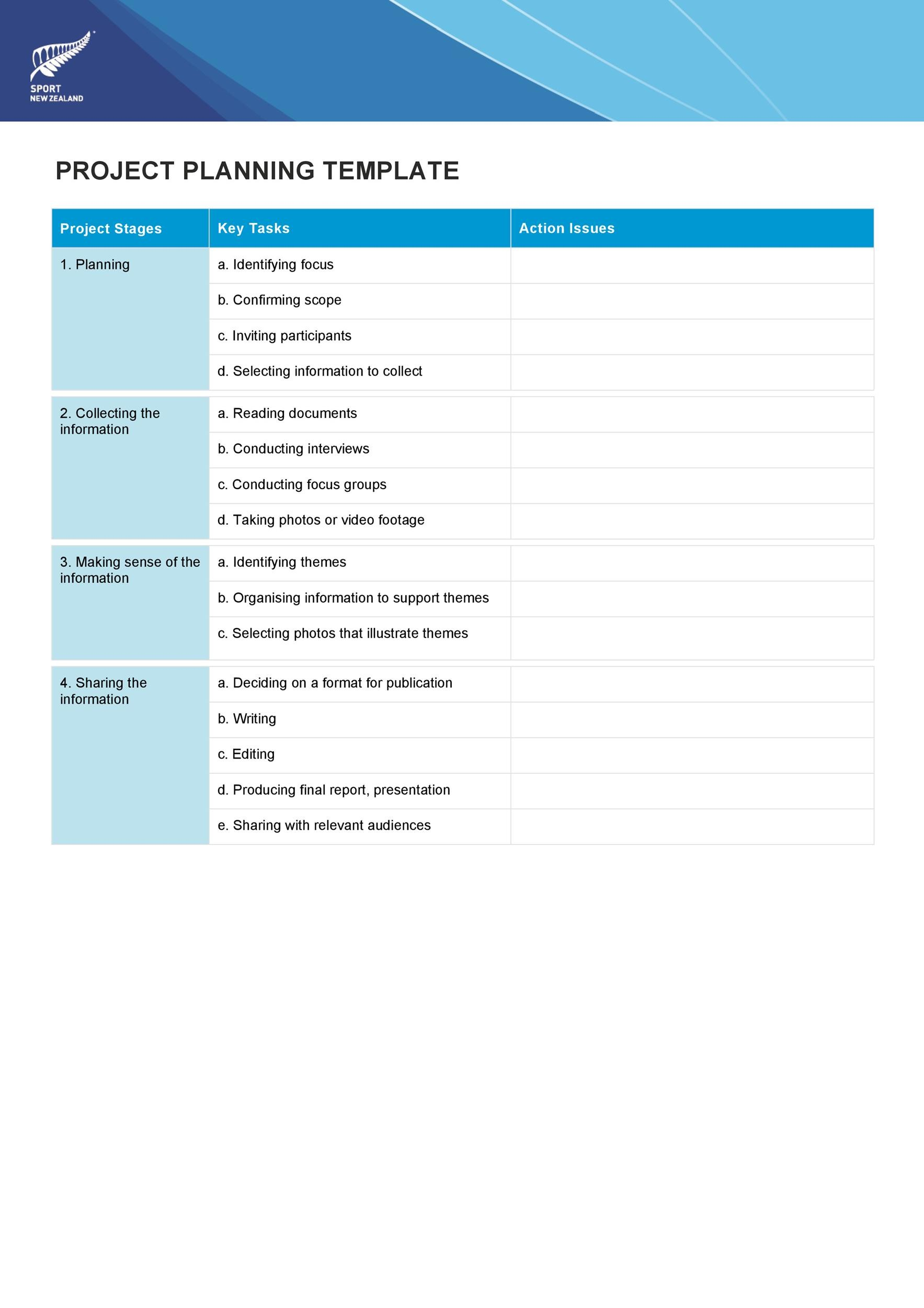 Free project planning template 32