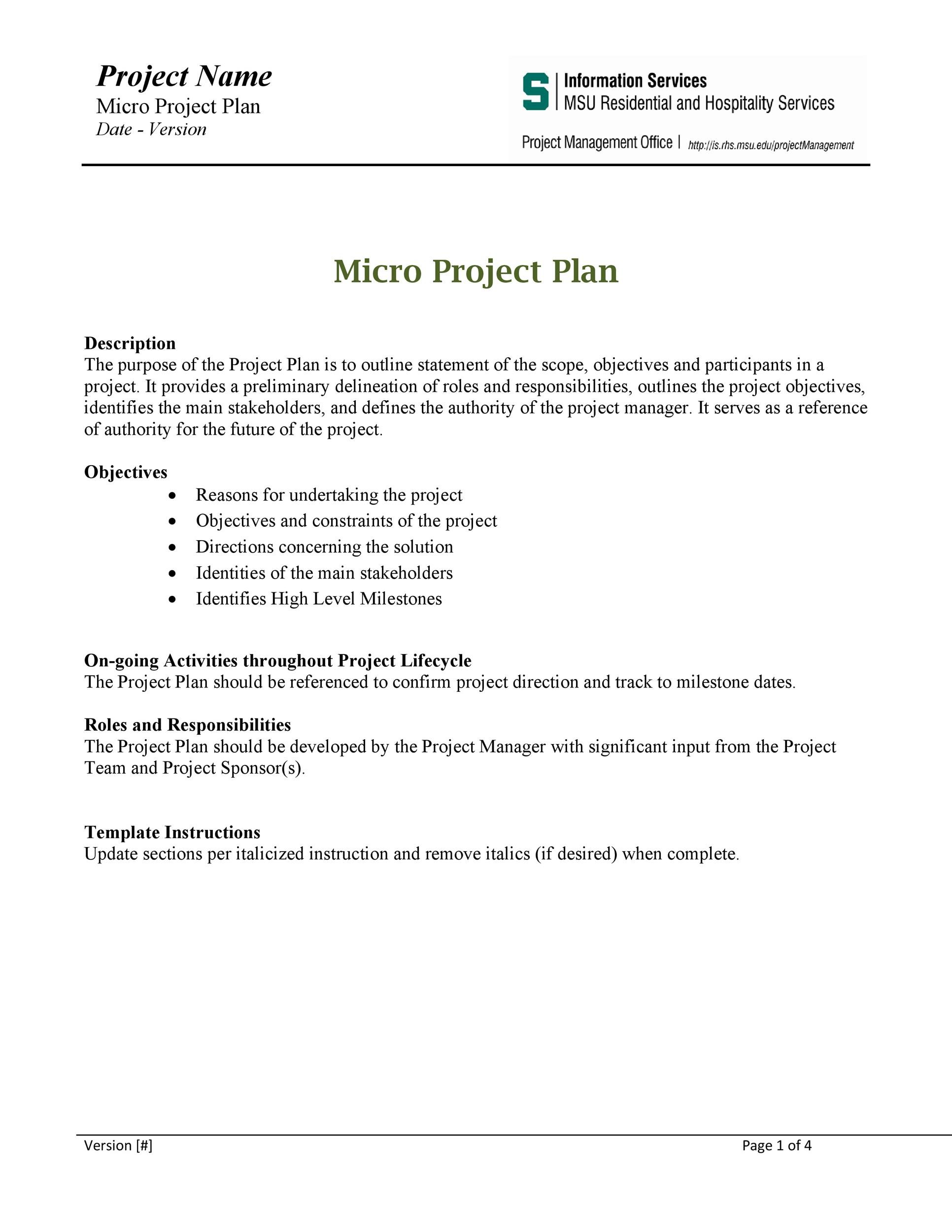 Free project planning template 33