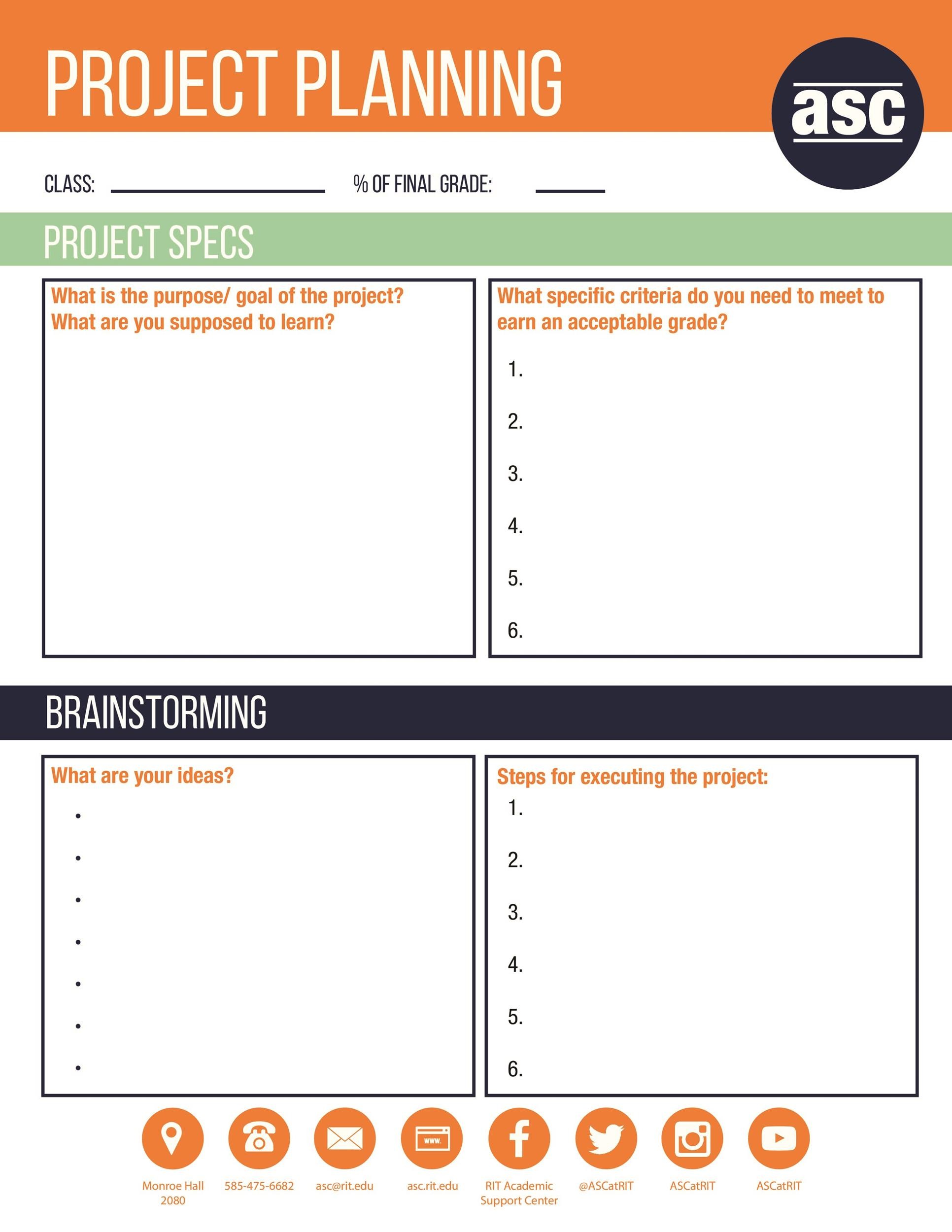 printable project planning template 41 - Project Template