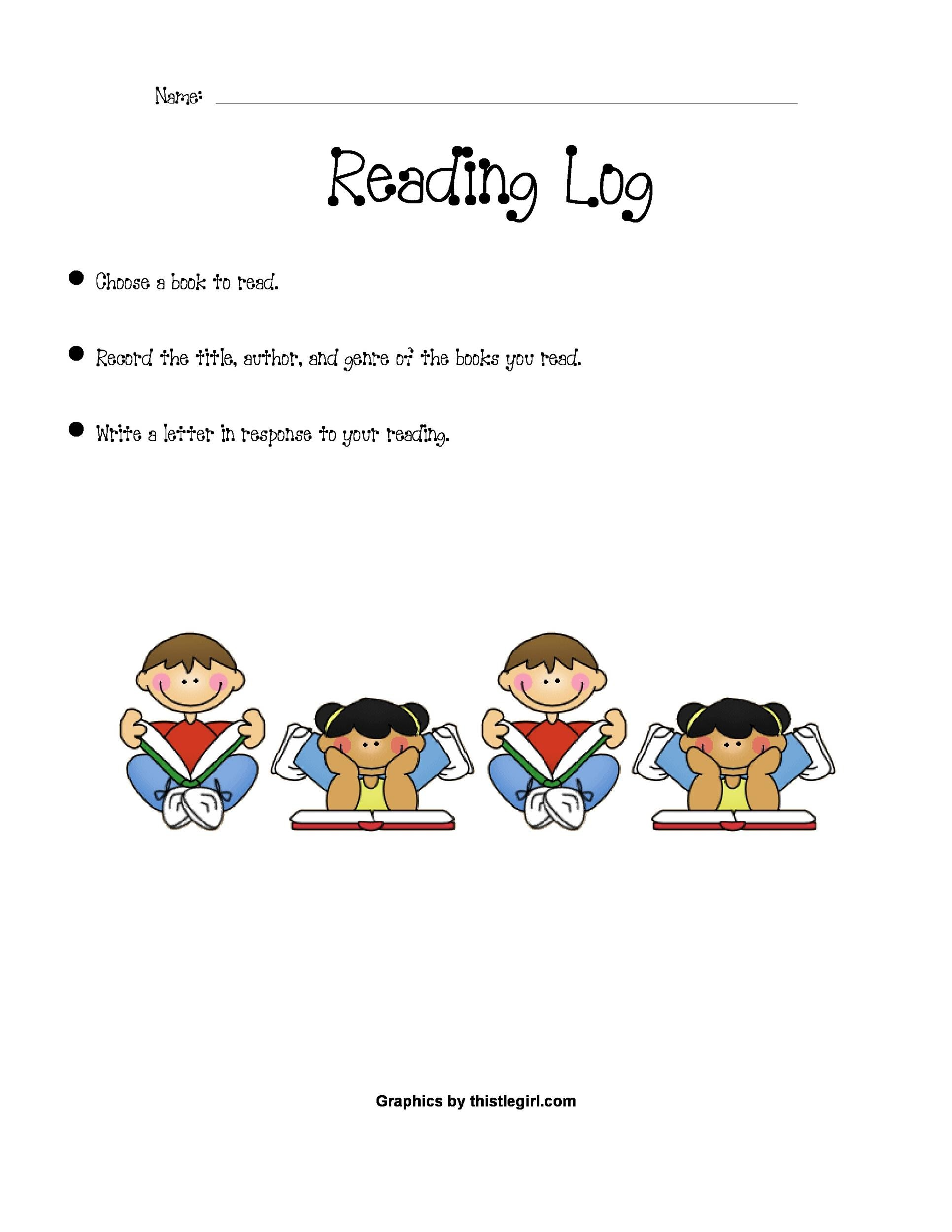 Free reading log template 03