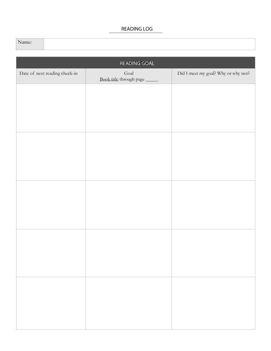 Free reading log template 04