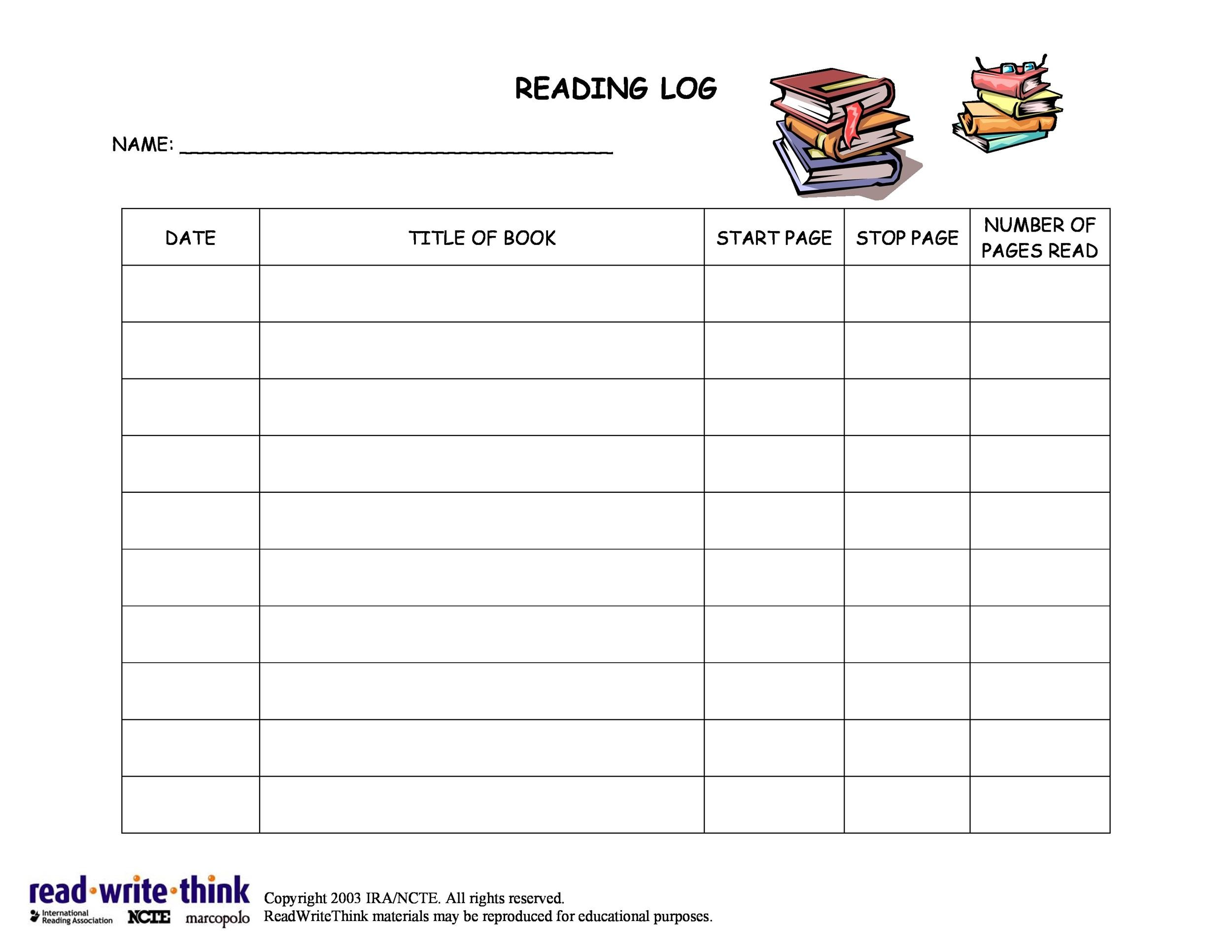 summer reading log template - daily reading log template middle school 15 best images