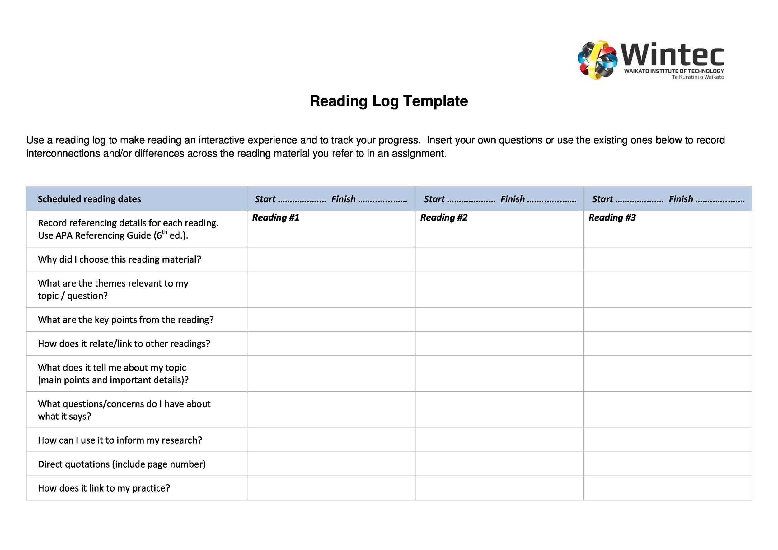 Free reading log template 08