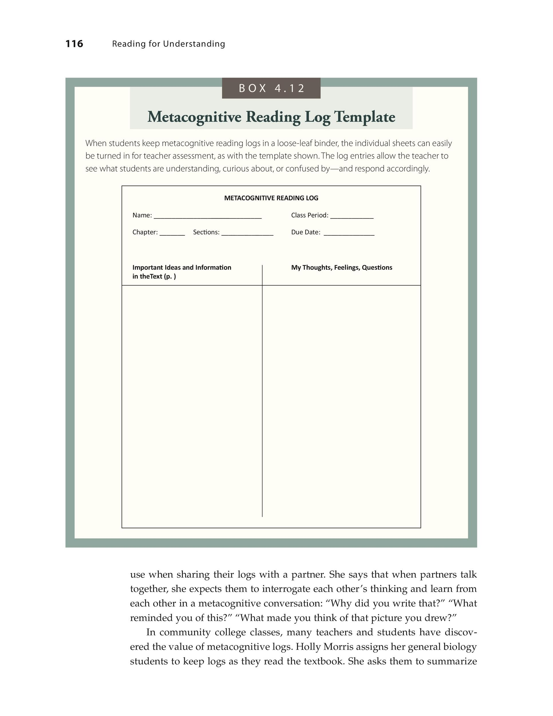 Free reading log template 11