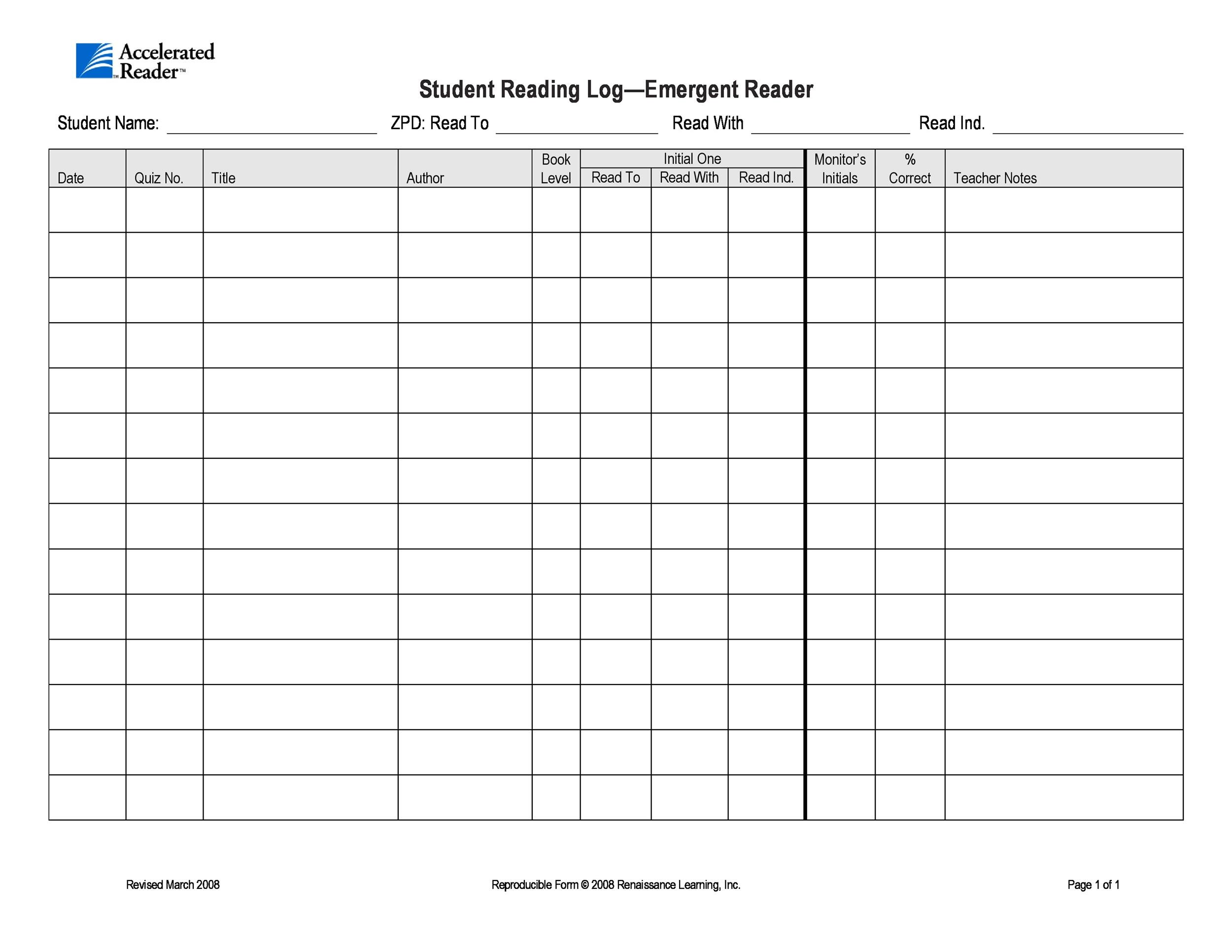 Free reading log template 12