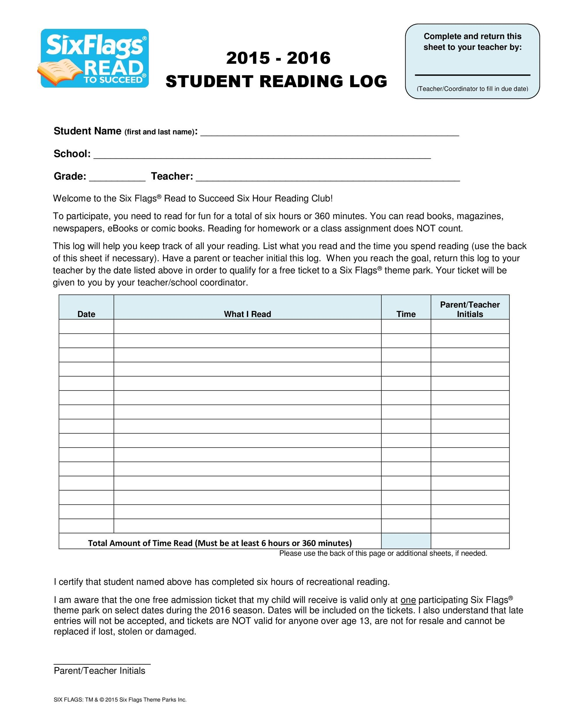 Free reading log template 13