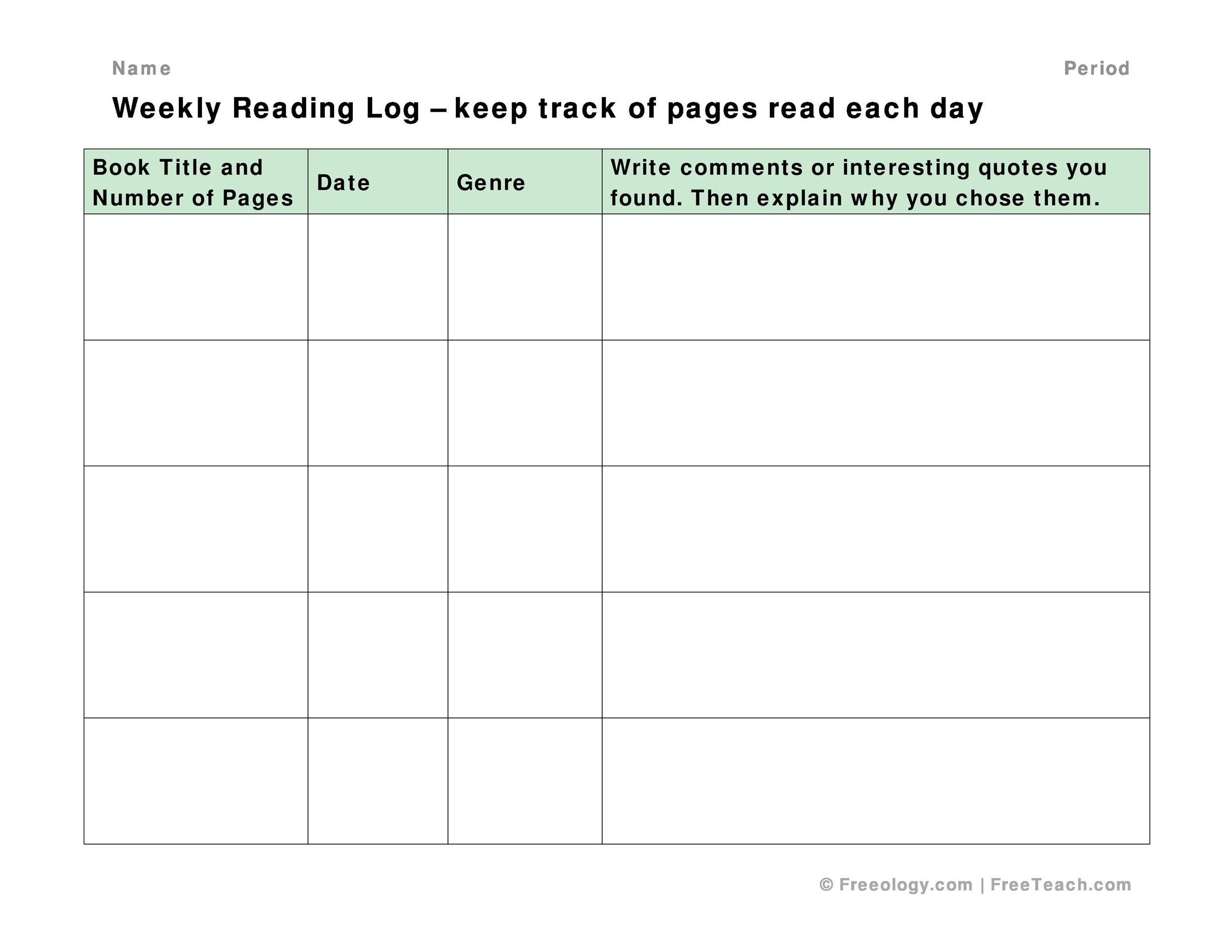 Free reading log template 14
