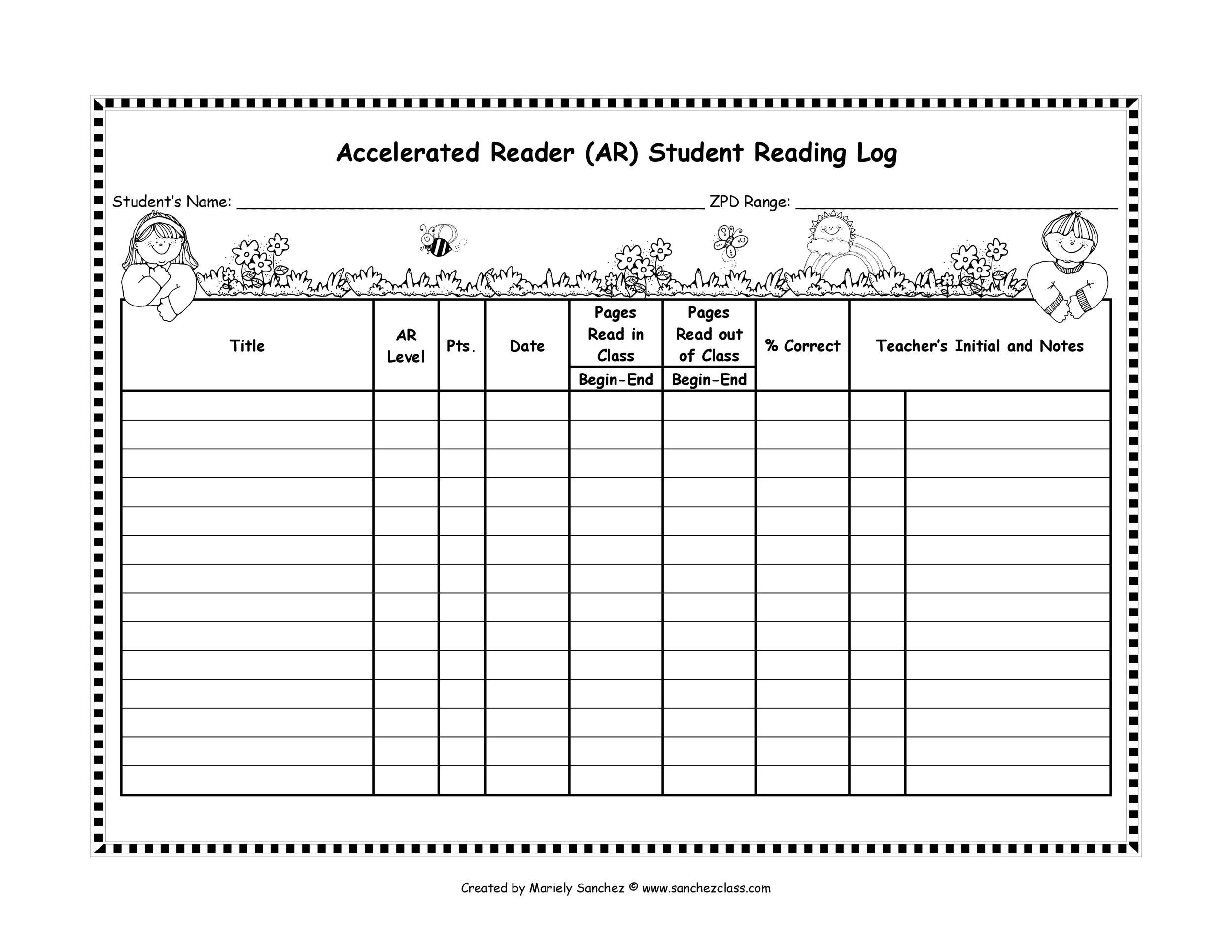 graphic about Free Printable Reading Logs identify 47 Printable Studying Log Templates for Little ones, Centre Faculty