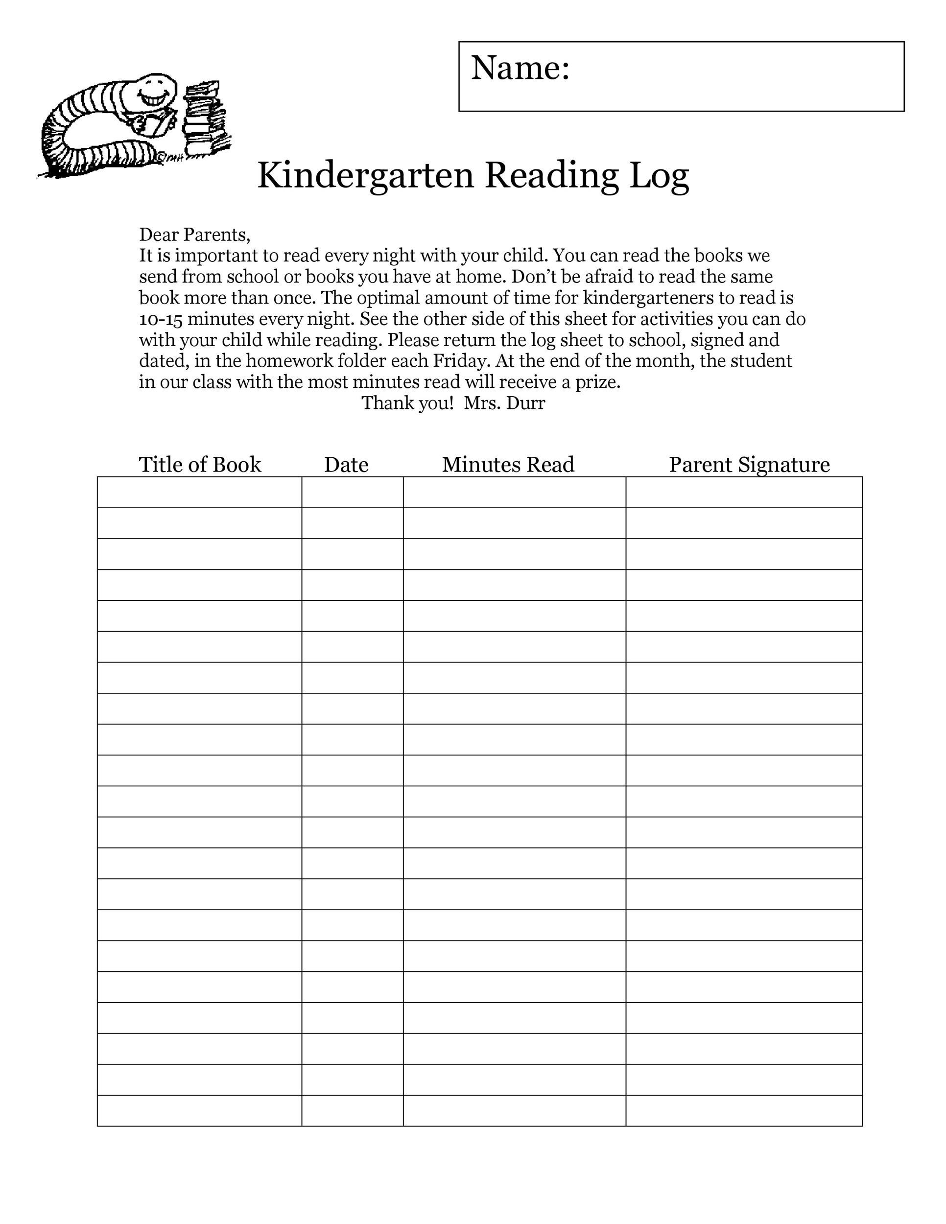 photo regarding Printable Reading Logs With Parent Signature titled 47 Printable Looking at Log Templates for Youngsters, Center College or university