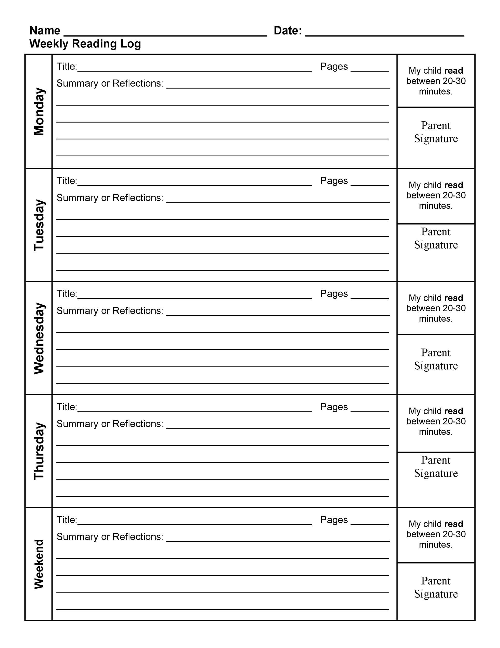 47 Printable Reading Log Templates for Kids Middle School Adults – Weekly Log Template