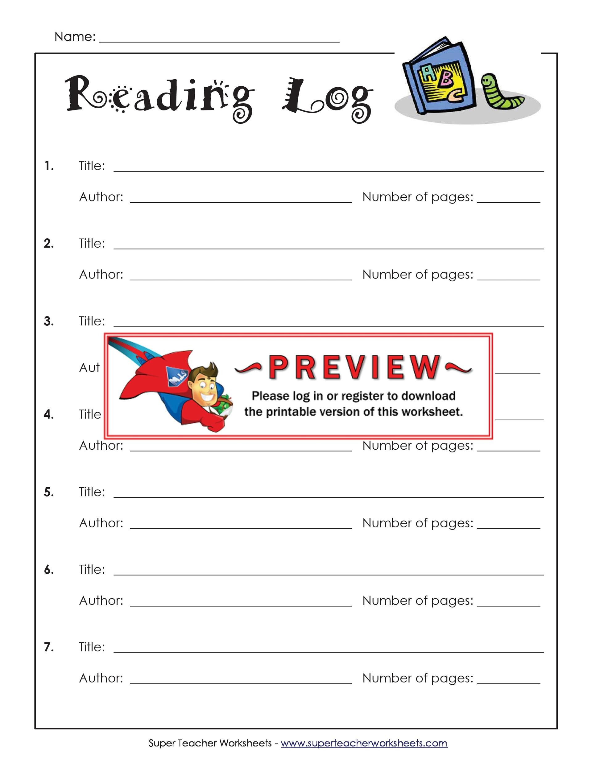 Free reading log template 21