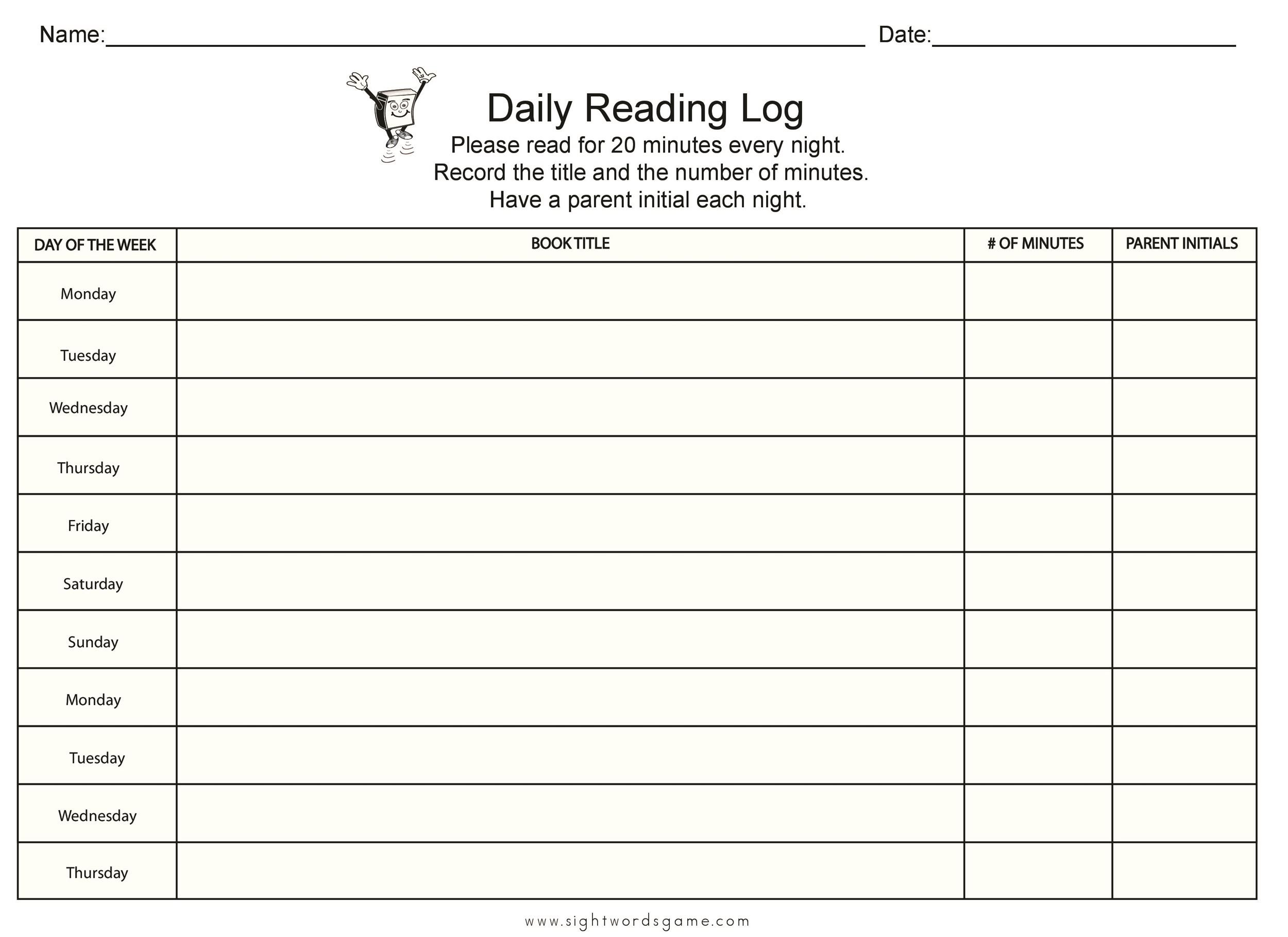 Free reading log template 23