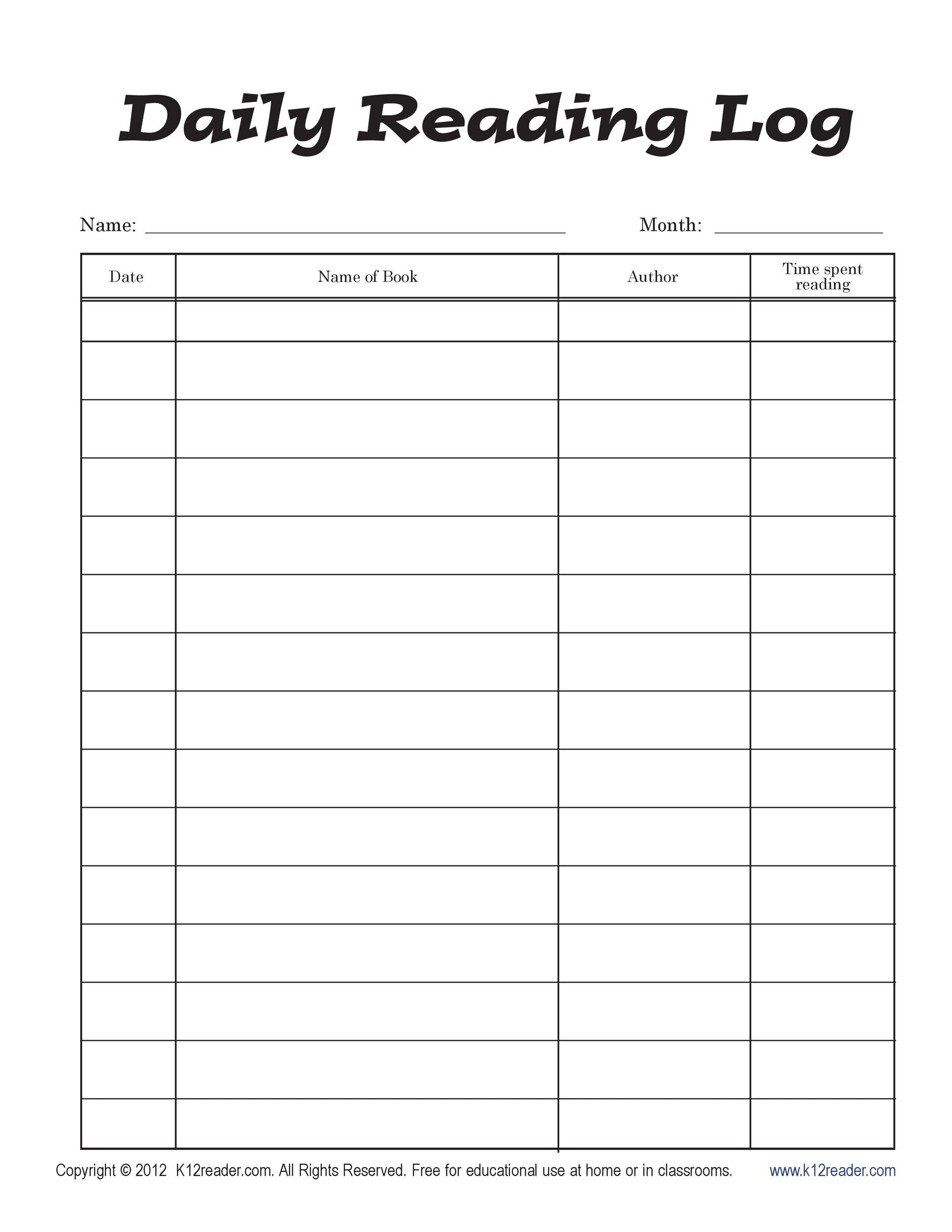 photo regarding Printable Book identified as 47 Printable Studying Log Templates for Youngsters, Heart College