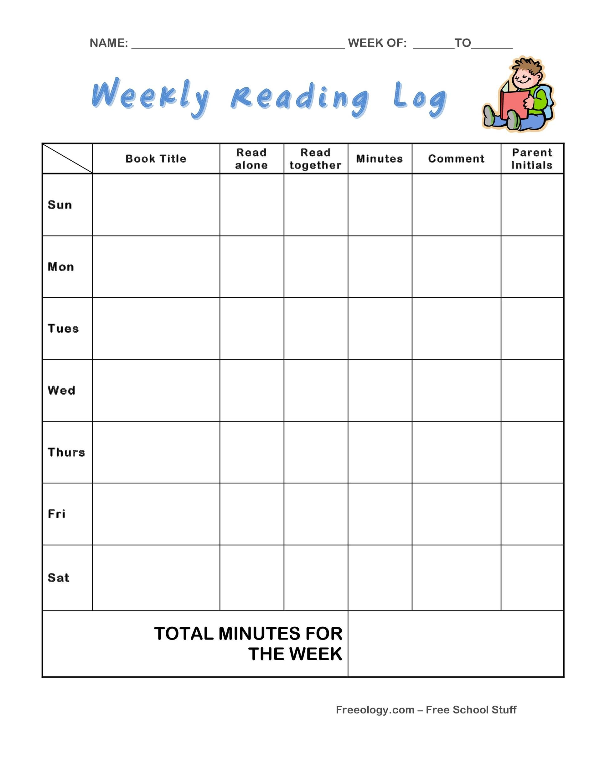 photograph about Printable Reading Logs With Parent Signature identified as 47 Printable Looking through Log Templates for Youngsters, Centre University