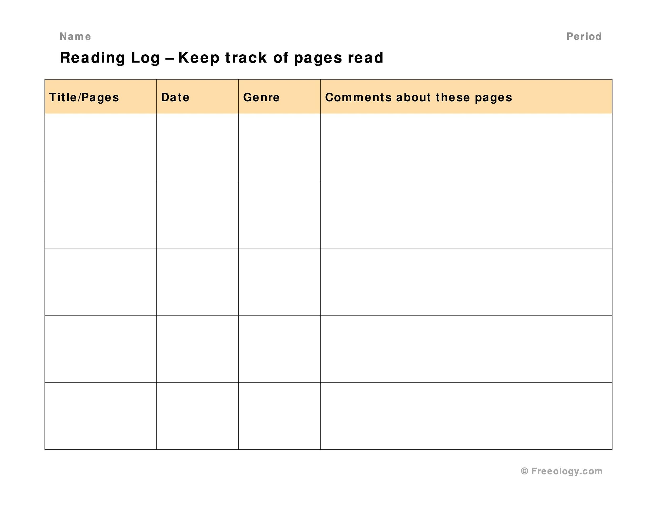 Free reading log template 30