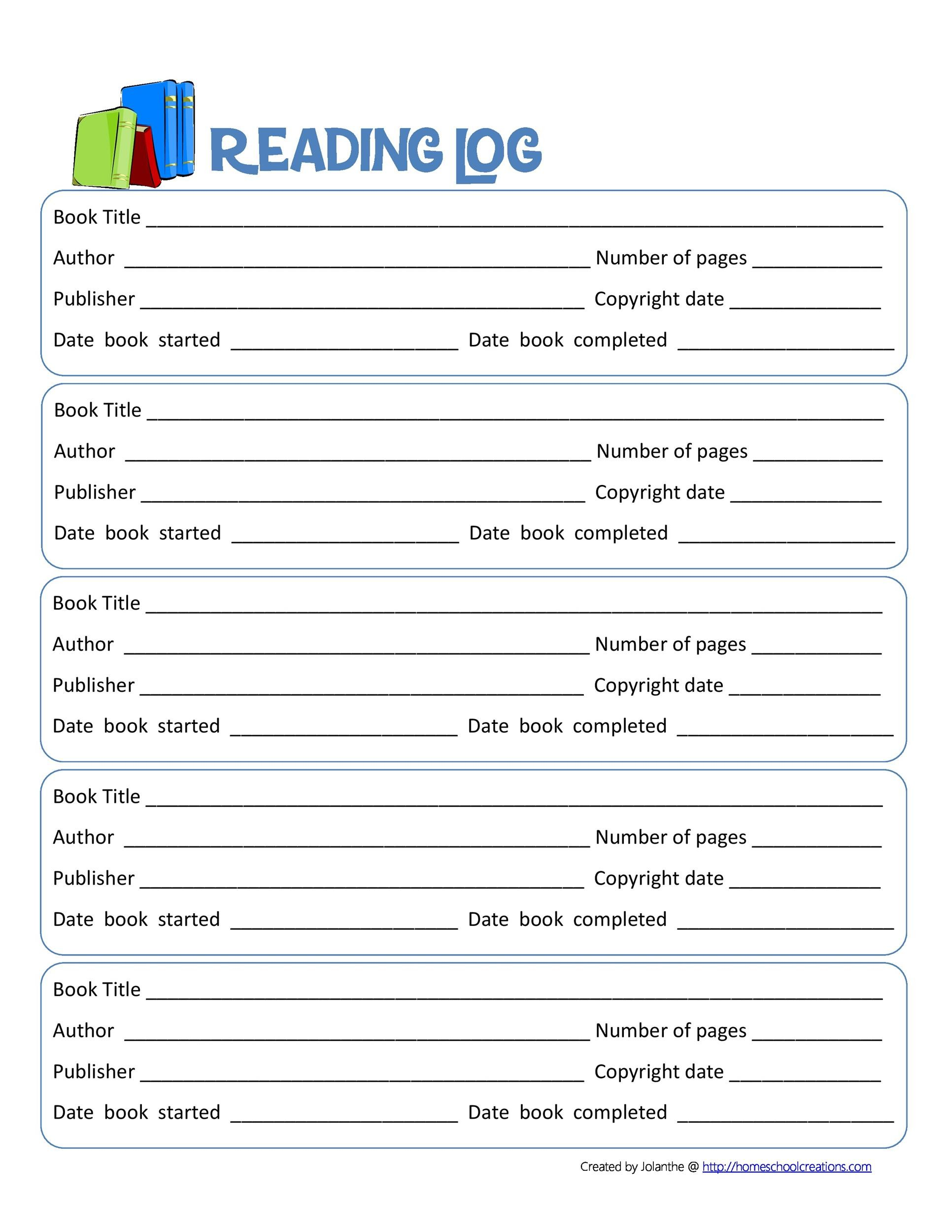 Free reading log template 33
