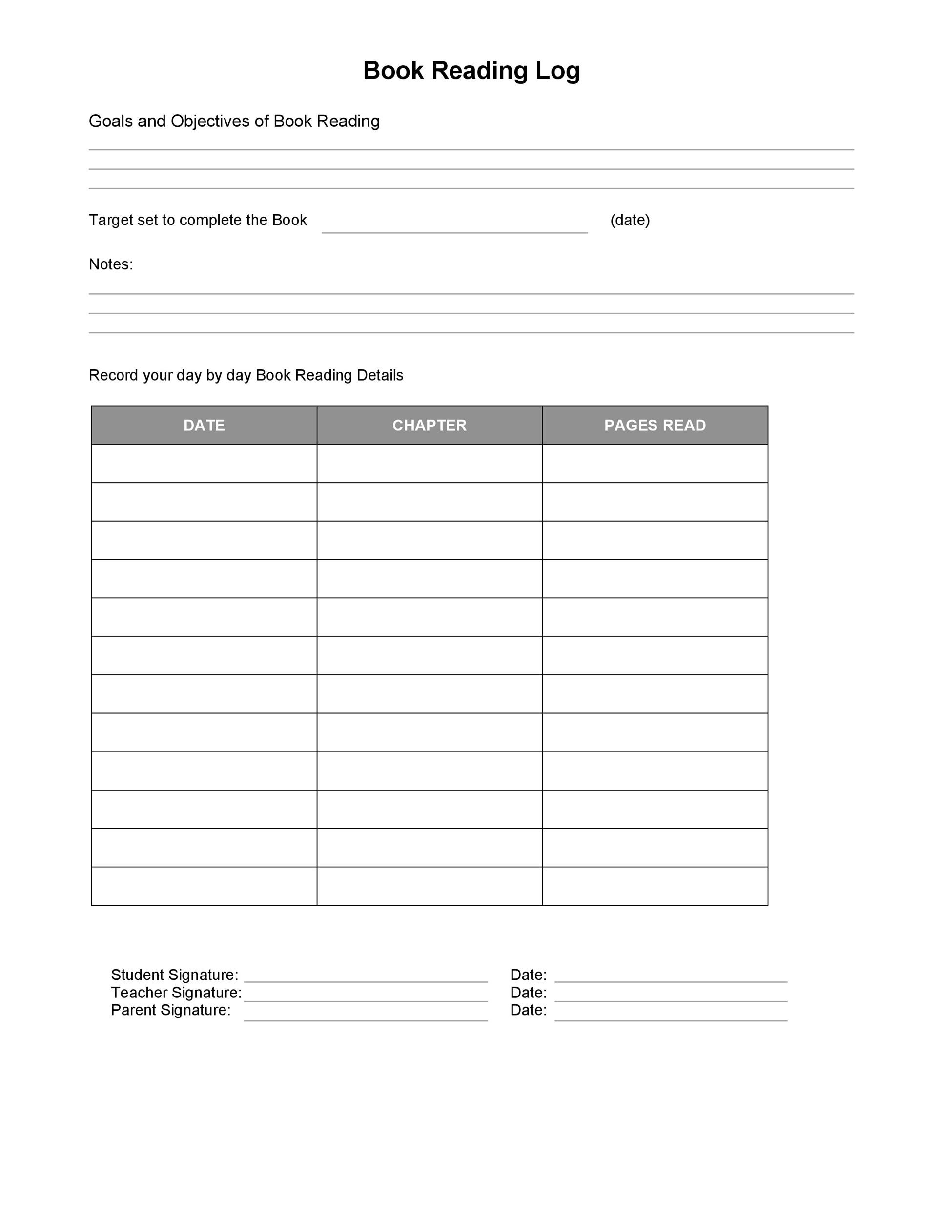 picture about Book Log Printable titled 47 Printable Reading through Log Templates for Small children, Centre College or university