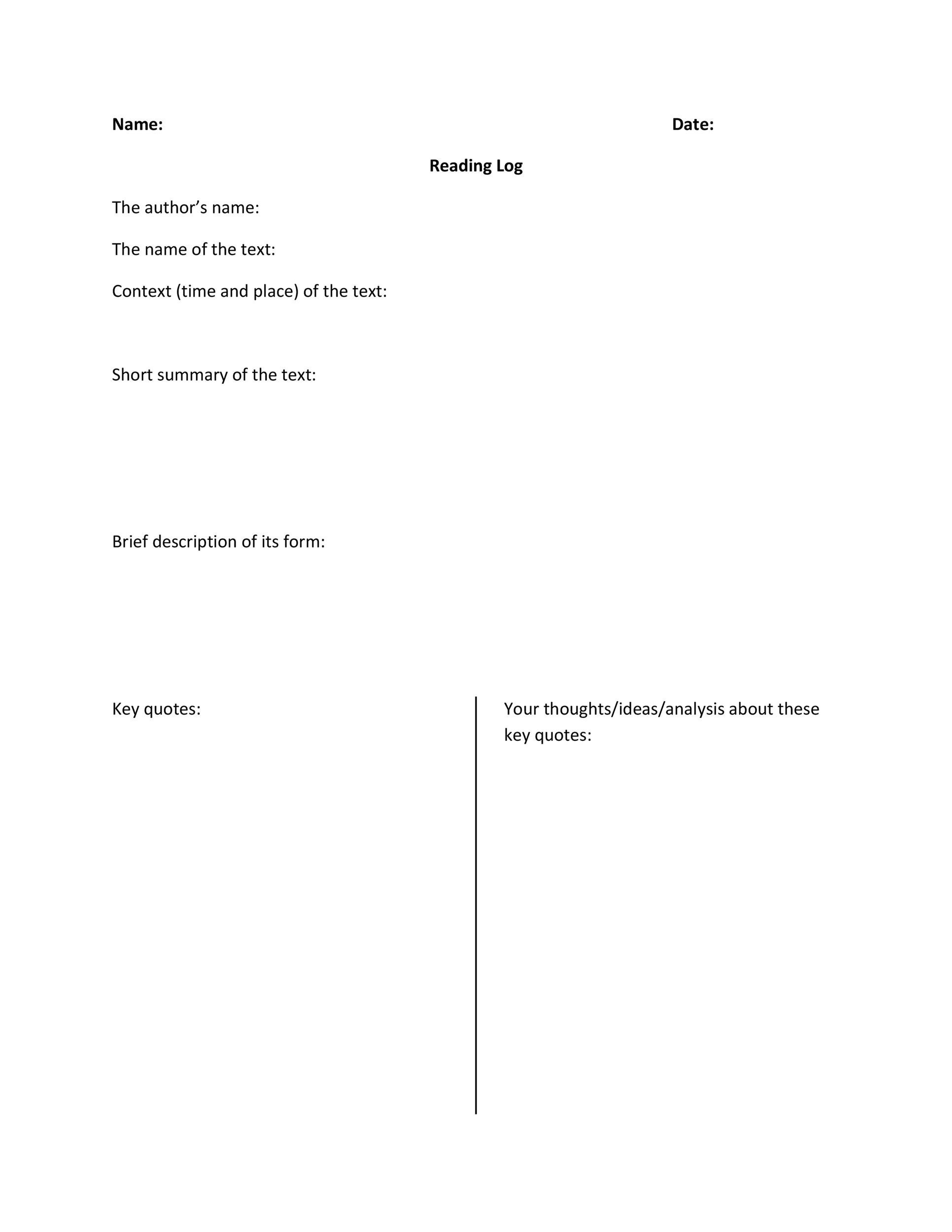 Printable Reading Log Templates For Kids Middle School  Adults