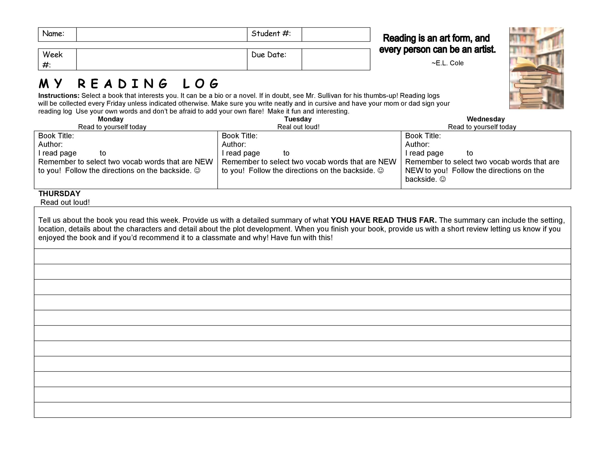 Free reading log template 43