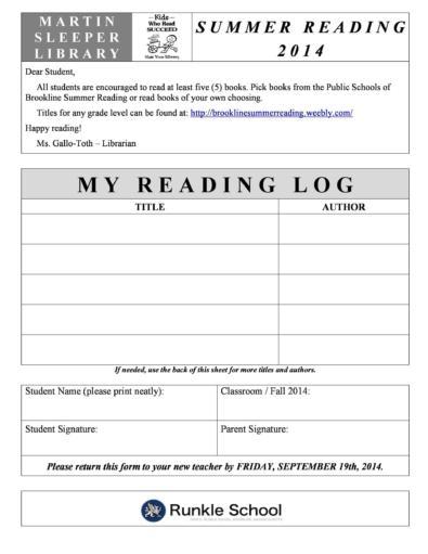 Reading Log Templates