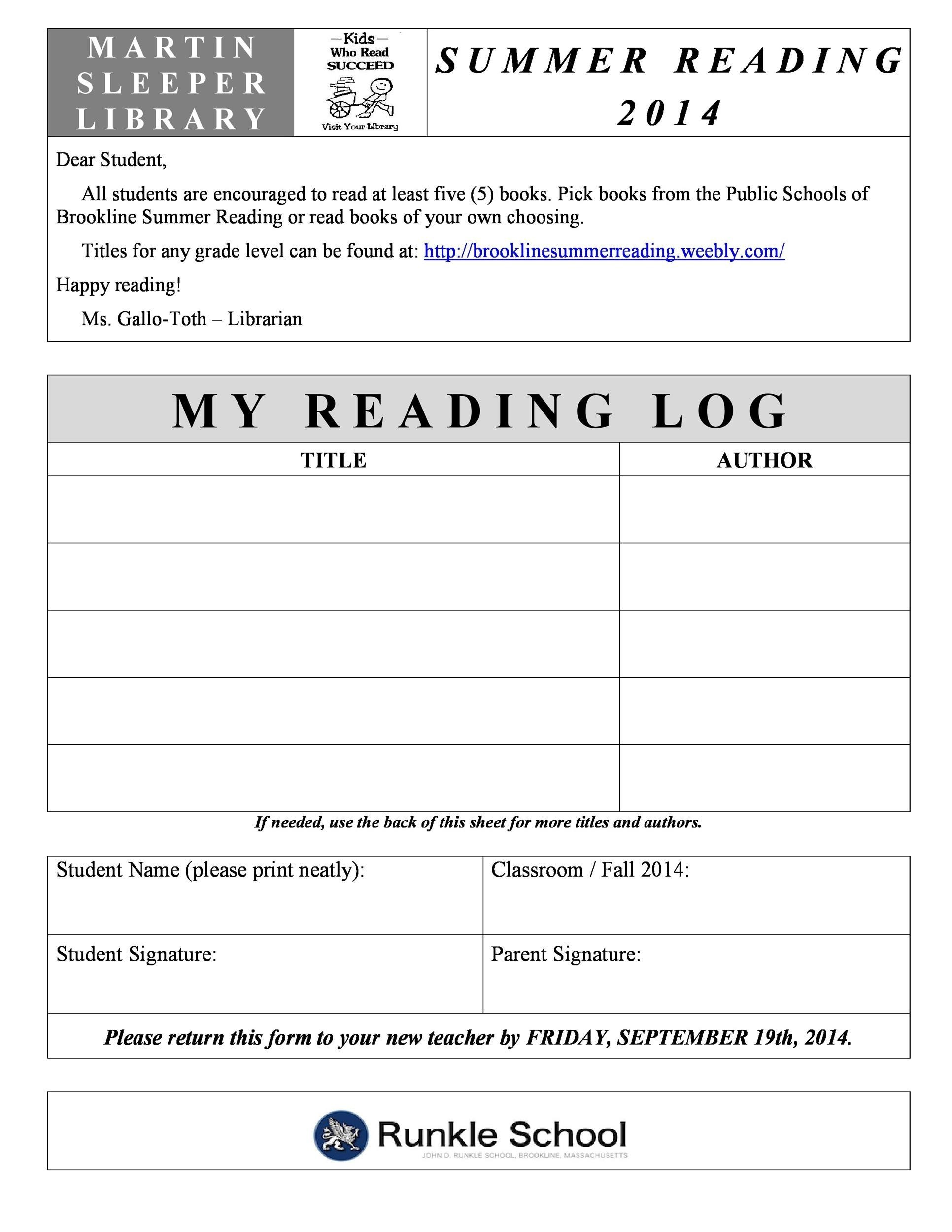 photo regarding Printable Reading Logs With Parent Signature known as 47 Printable Looking at Log Templates for Little ones, Centre College or university