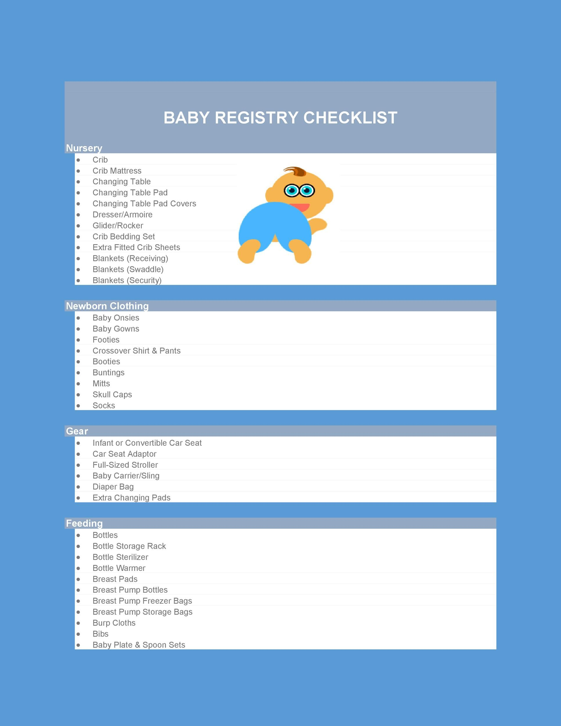 graphic relating to Baby Checklist Printable named 30+ Child Registry Checklists (Child Little one Checklists) ᐅ