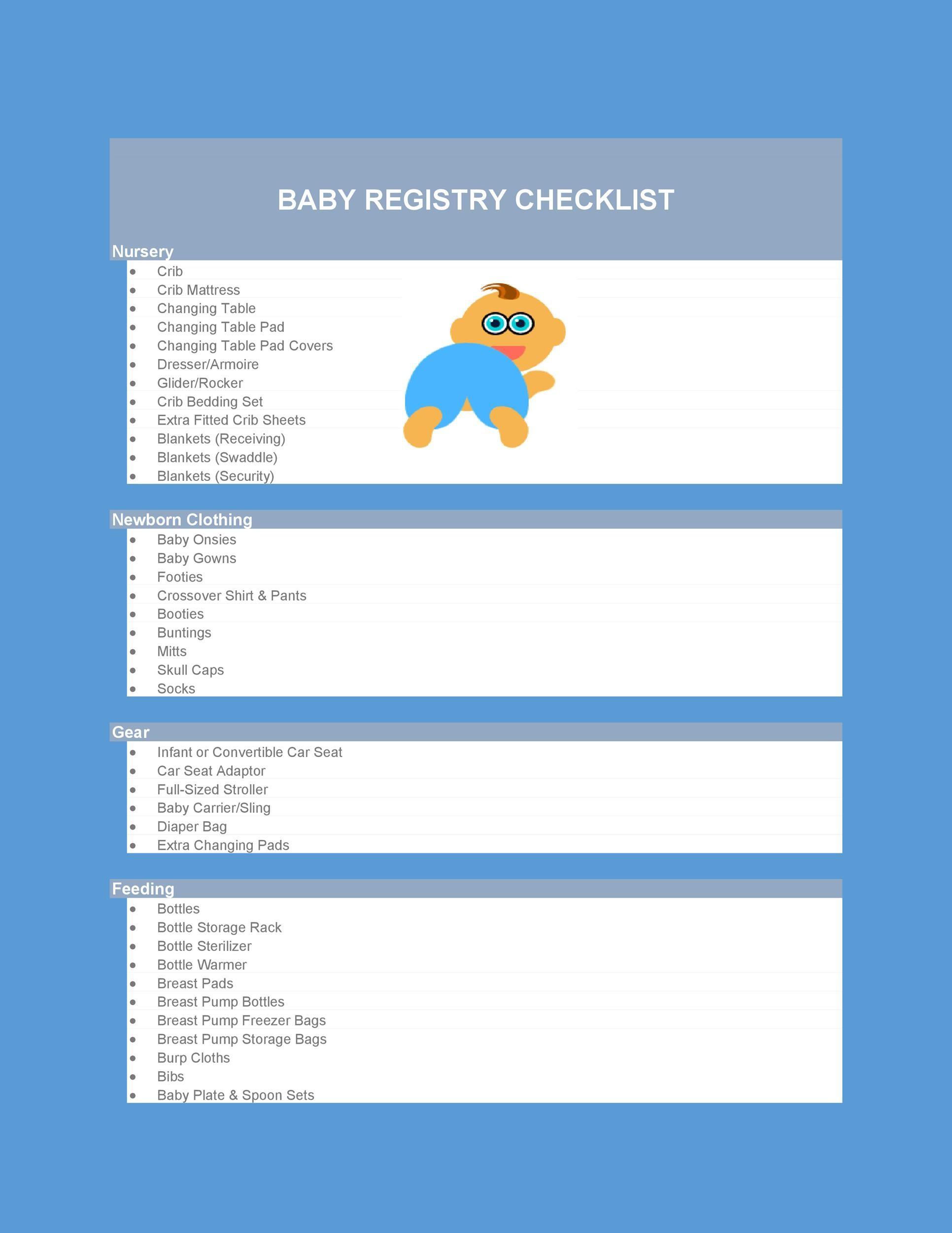 Free Baby Registry Checklist 01