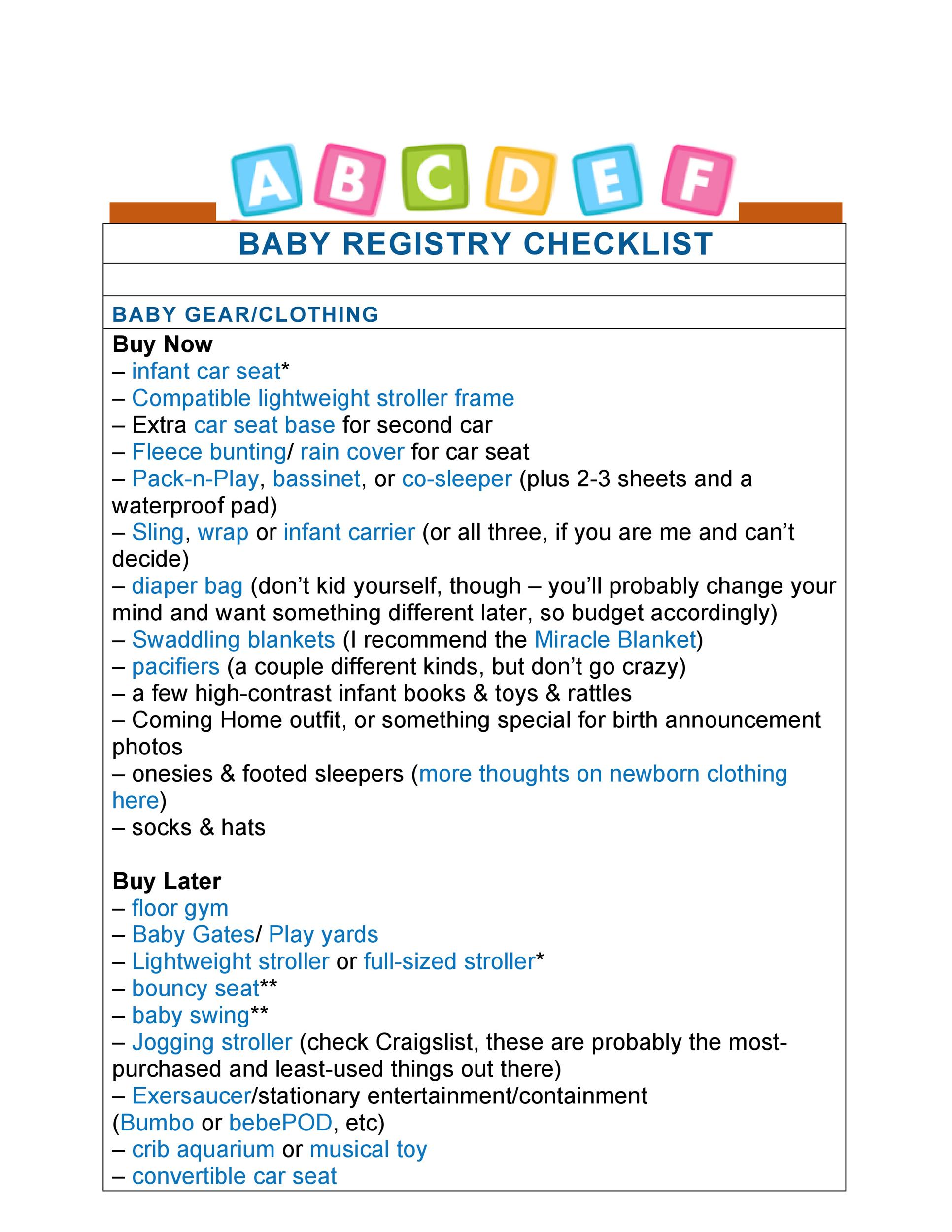 30+ Baby Registry Checklists (Newborn Baby Checklists) - Template Lab