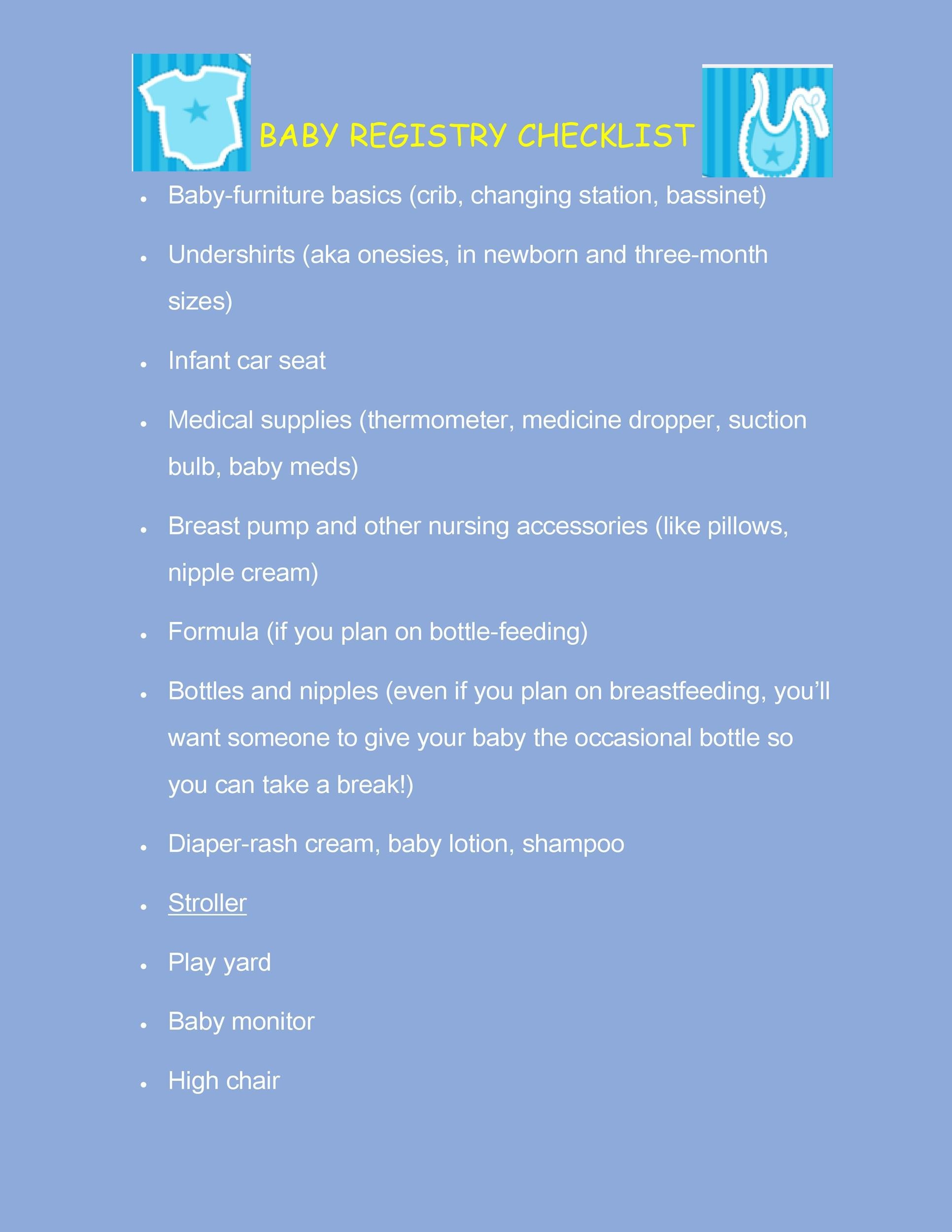 Free Baby Registry Checklist 05