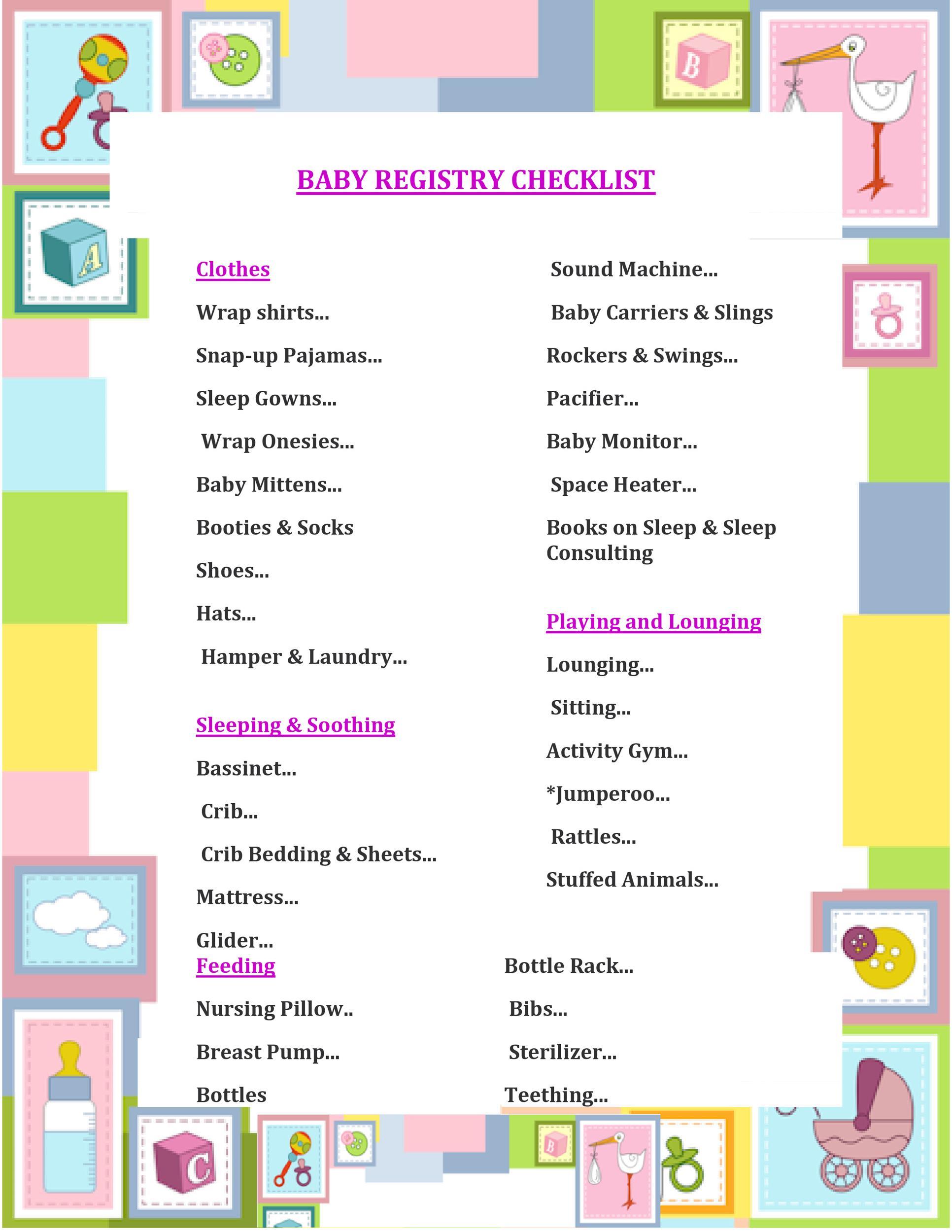 Free Baby Registry Checklist 08