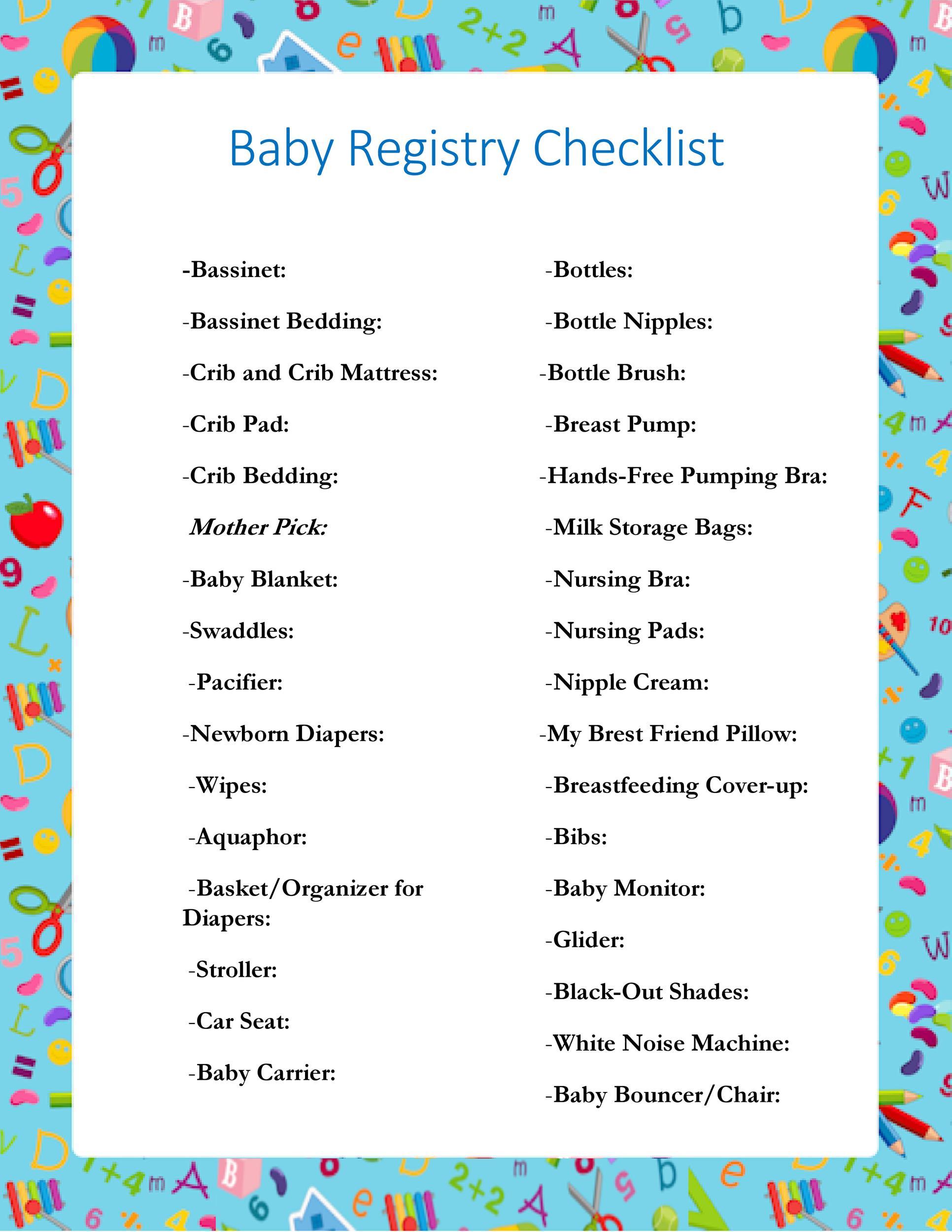 Free Baby Registry Checklist 10