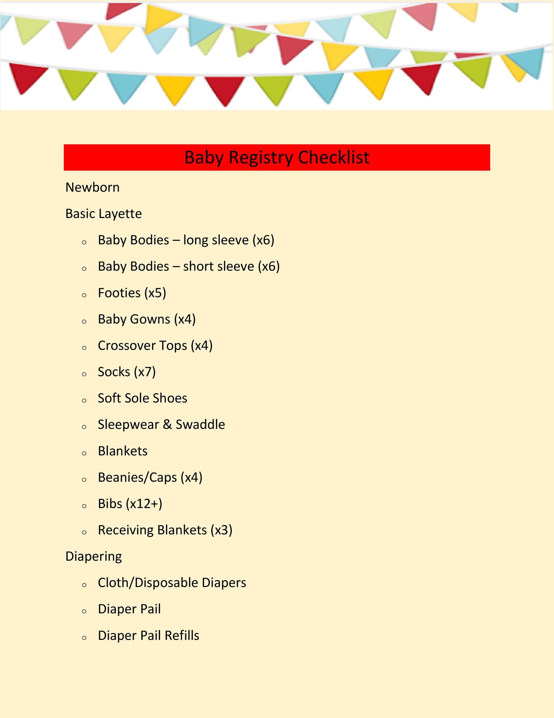 Free Baby Registry Checklist 15