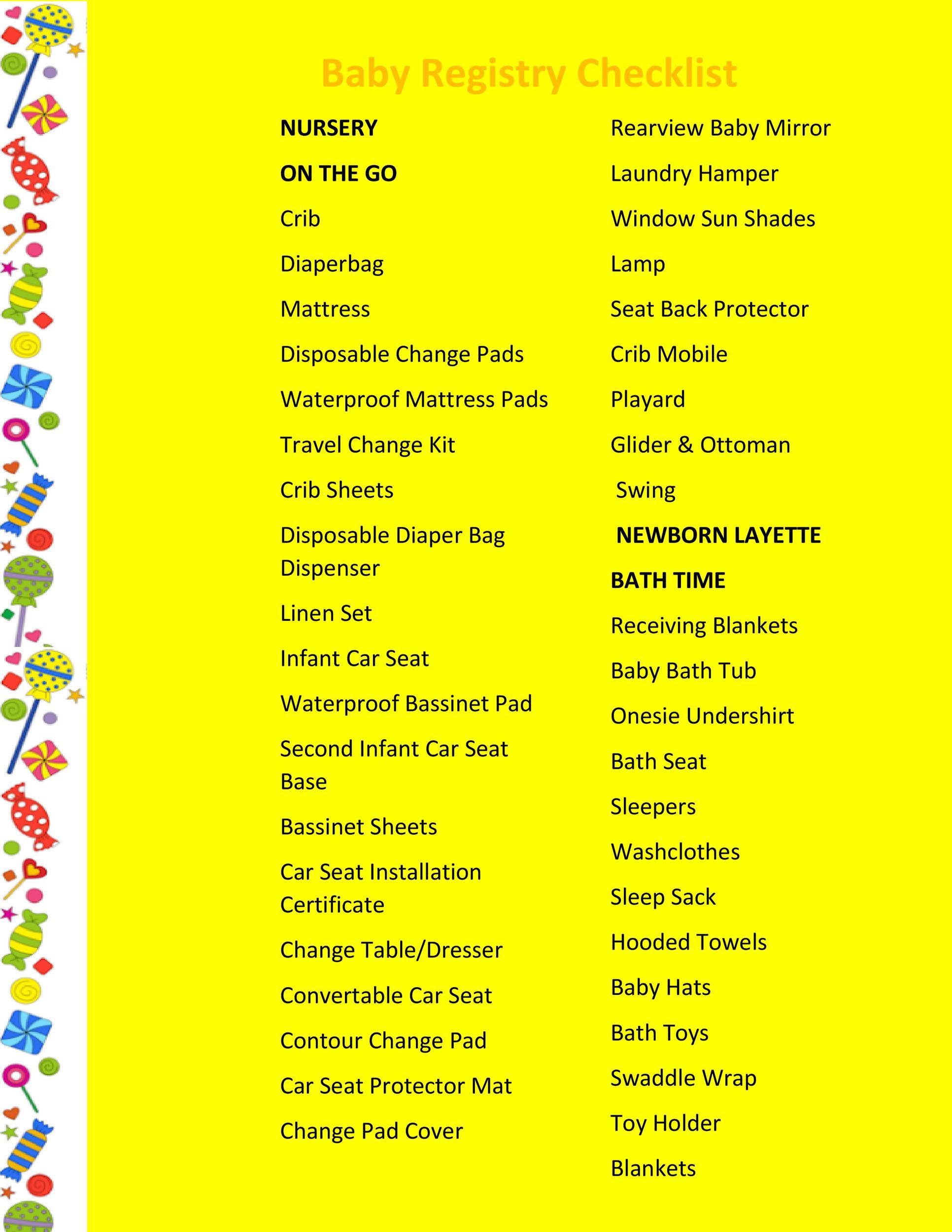 Free Baby Registry Checklist 16