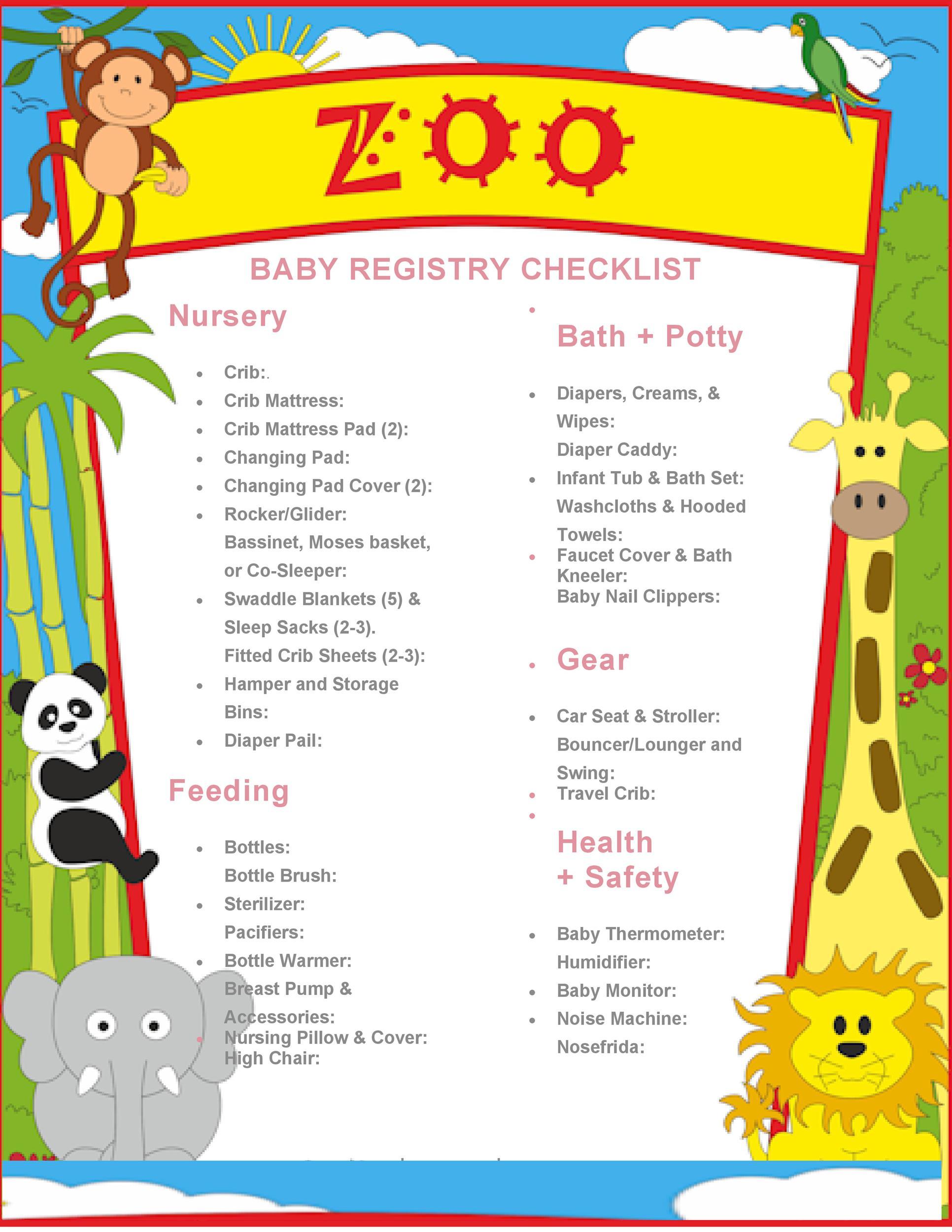 Free Baby Registry Checklist 17