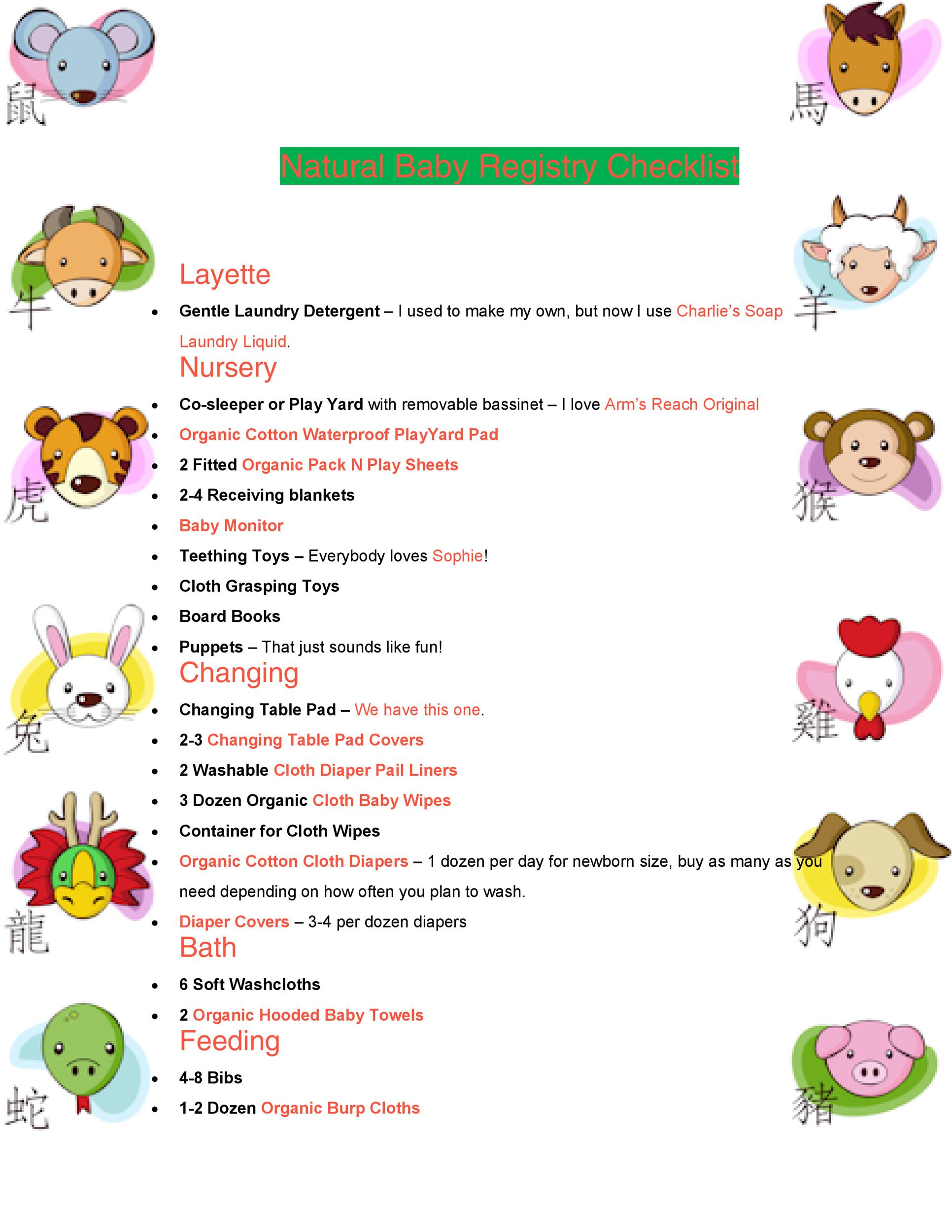 Free Baby Registry Checklist 19