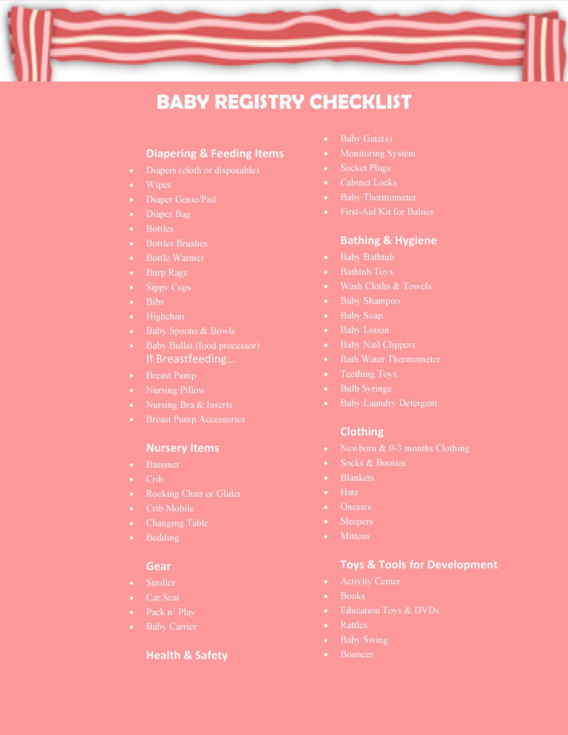 Free Baby Registry Checklist 21